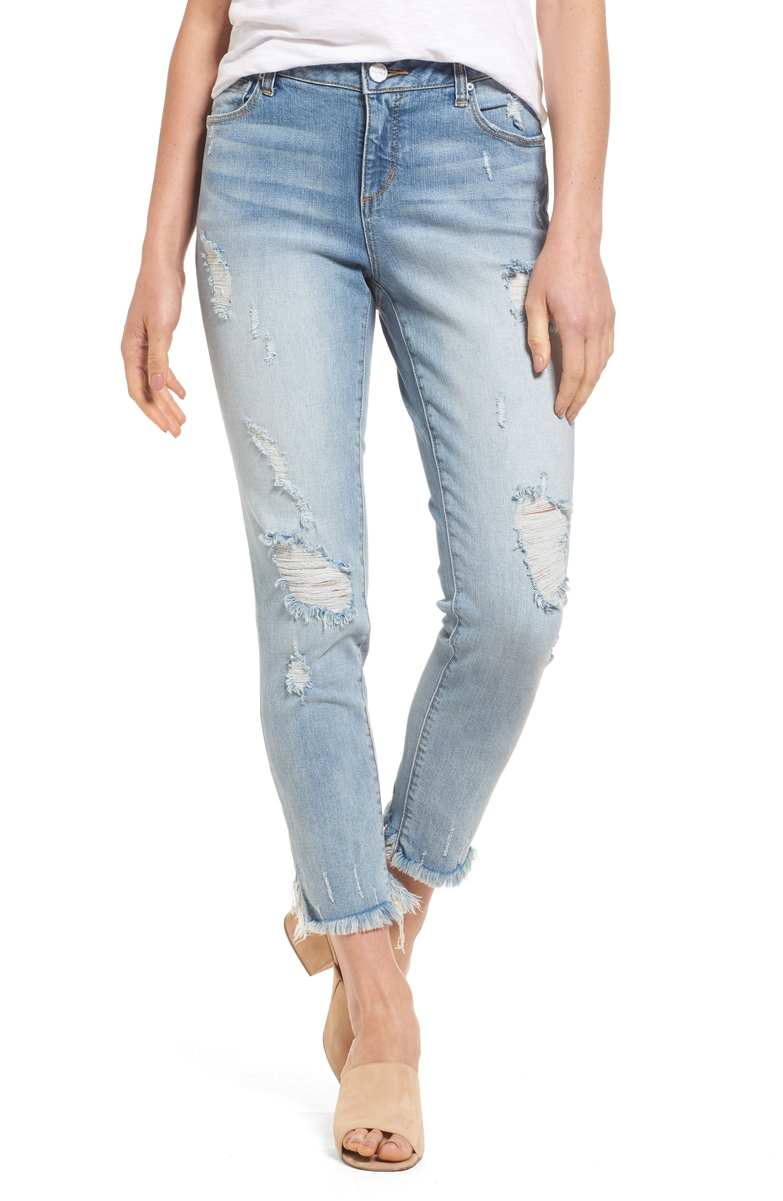 SLINK JEANS, Frayed Hem Easy Fit Ankle Jeans, Main thumbnail 1, color, MAGGIE