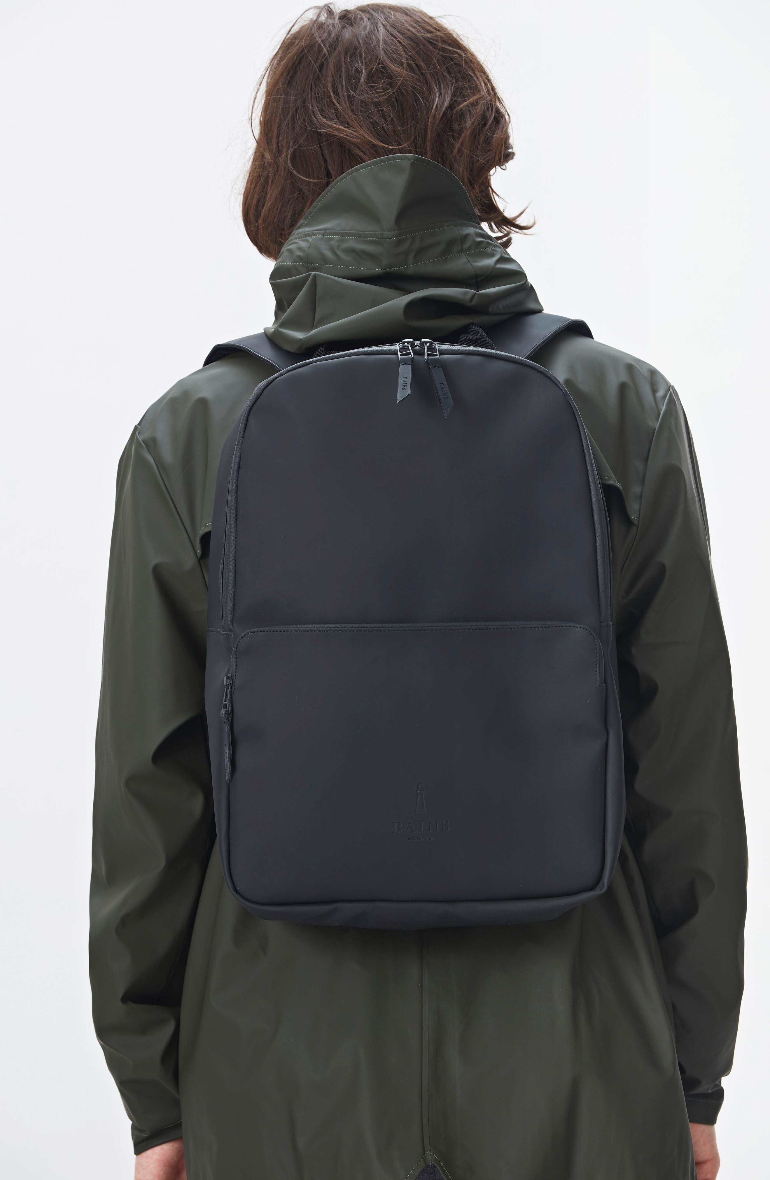 RAINS, Field Backpack, Alternate thumbnail 8, color, BLACK