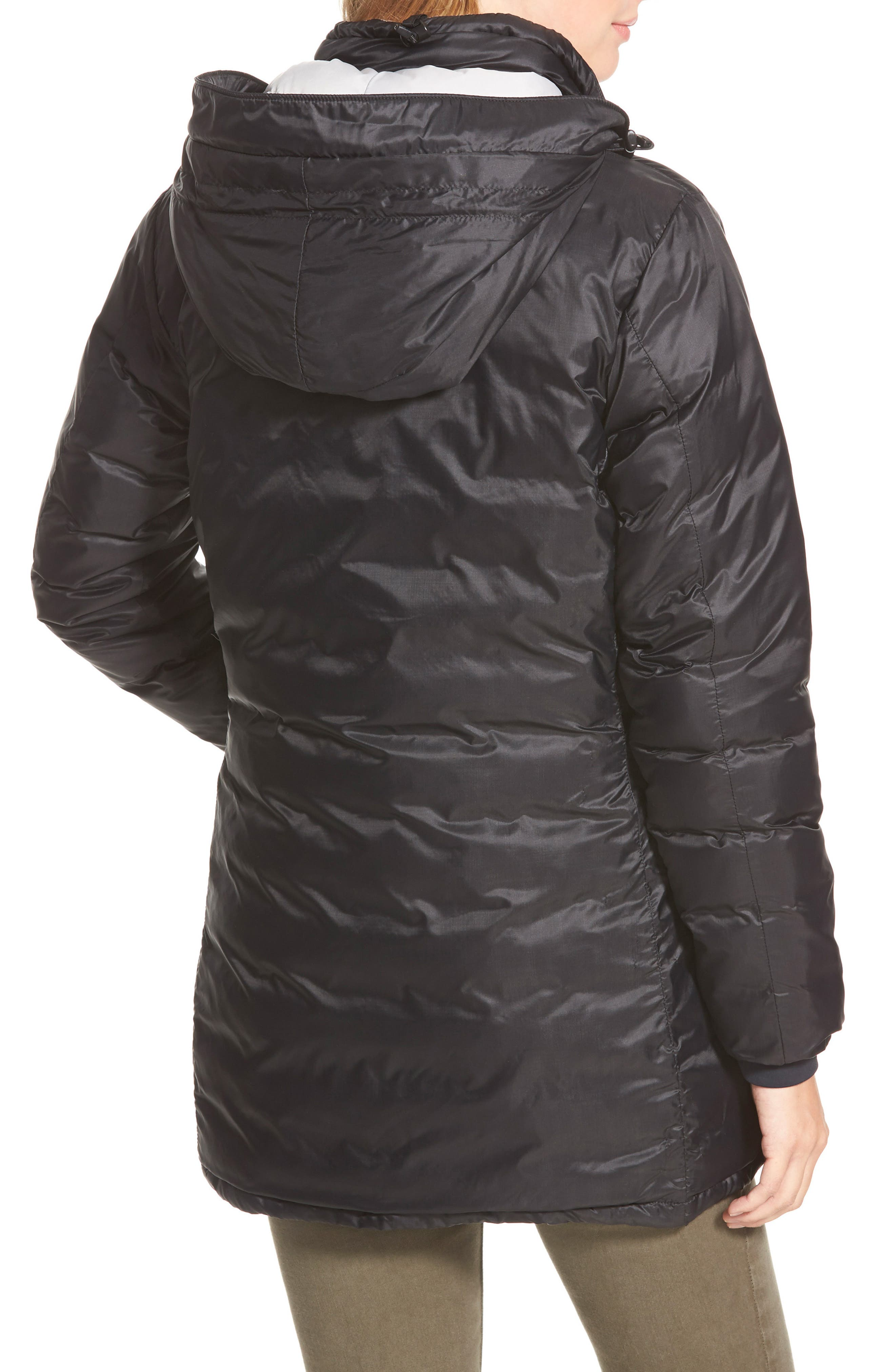 CANADA GOOSE, 'Camp' Slim Fit Hooded Packable Down Jacket, Alternate thumbnail 2, color, BLACK