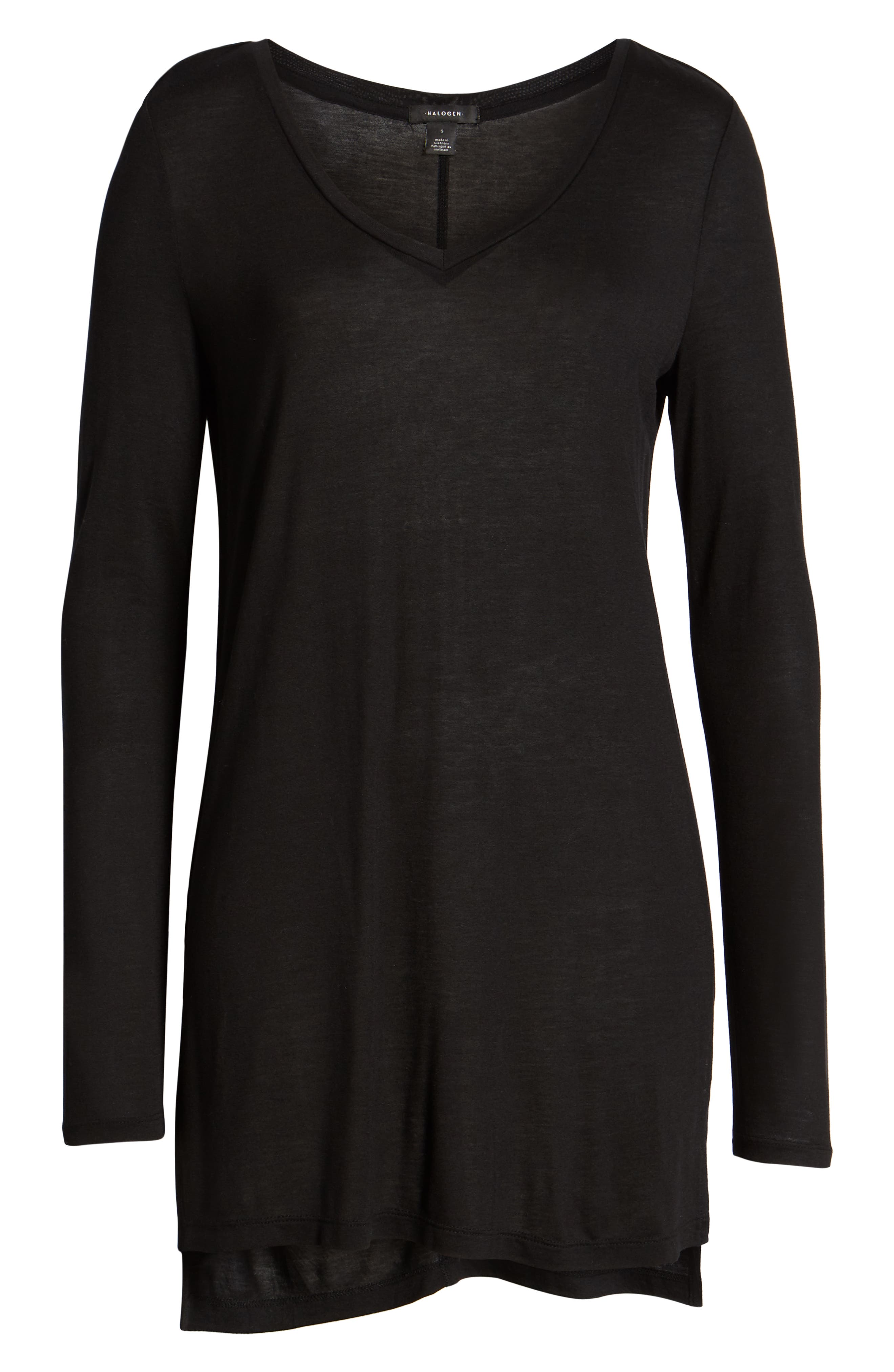 HALOGEN<SUP>®</SUP>, Long Sleeve Lightweight Tunic, Alternate thumbnail 7, color, 001