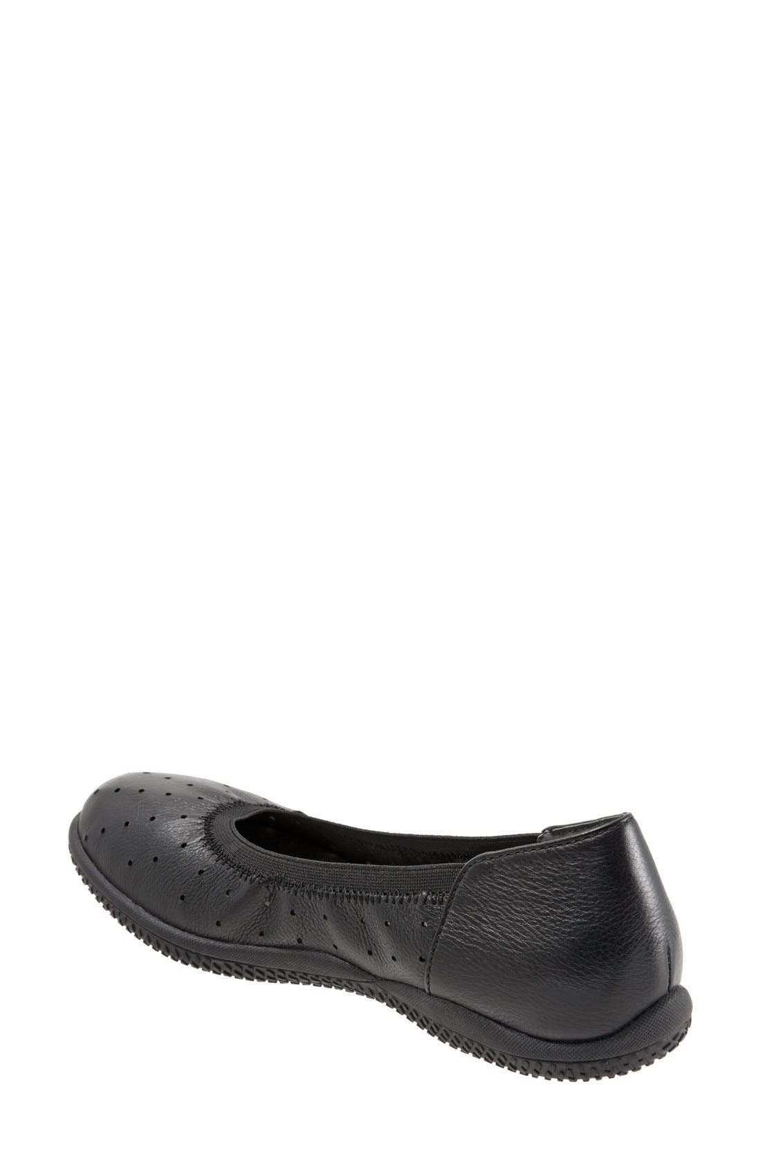 SOFTWALK<SUP>®</SUP>, 'Hampshire' Dot Perforated Ballet Flat, Alternate thumbnail 3, color, BLACK LEATHER