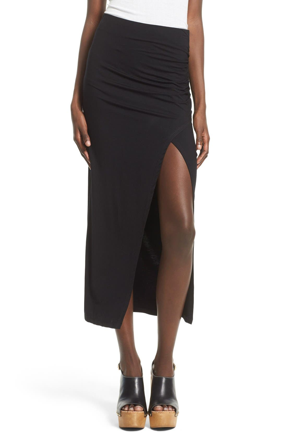 ASTR THE LABEL, ASTR High Slit Maxi Skirt, Main thumbnail 1, color, 001