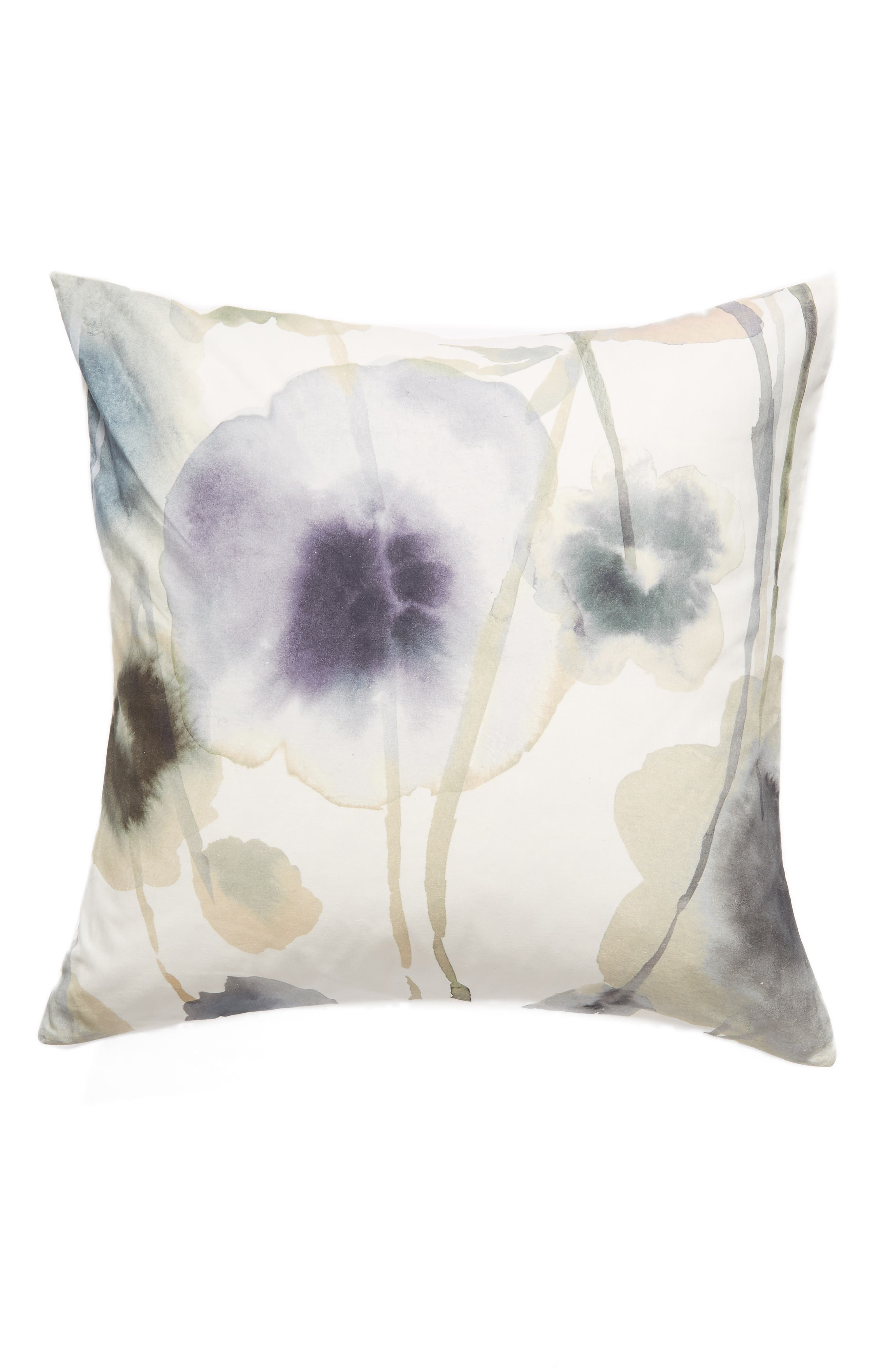 TREASURE & BOND Floral Print Euro Sham, Main, color, WHITE WHISPER