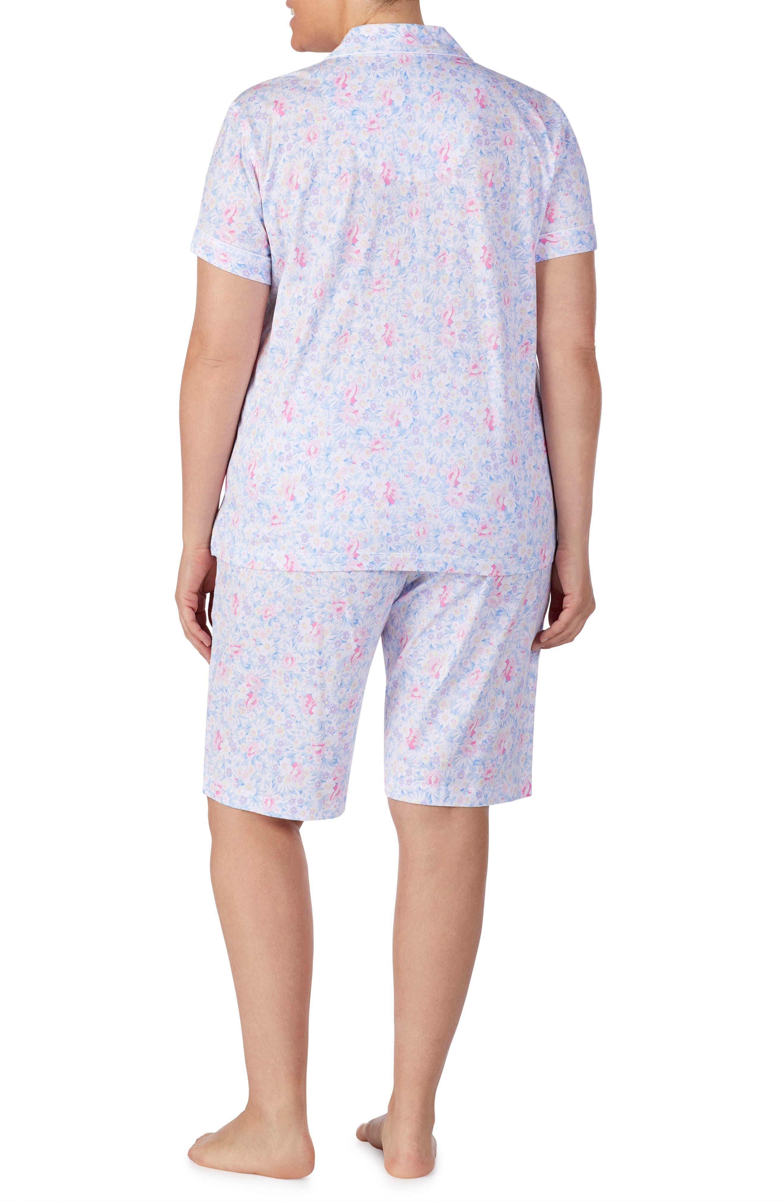 LAUREN RALPH LAUREN, Bermuda Shorts Pajamas, Alternate thumbnail 5, color, PINK FLORAL