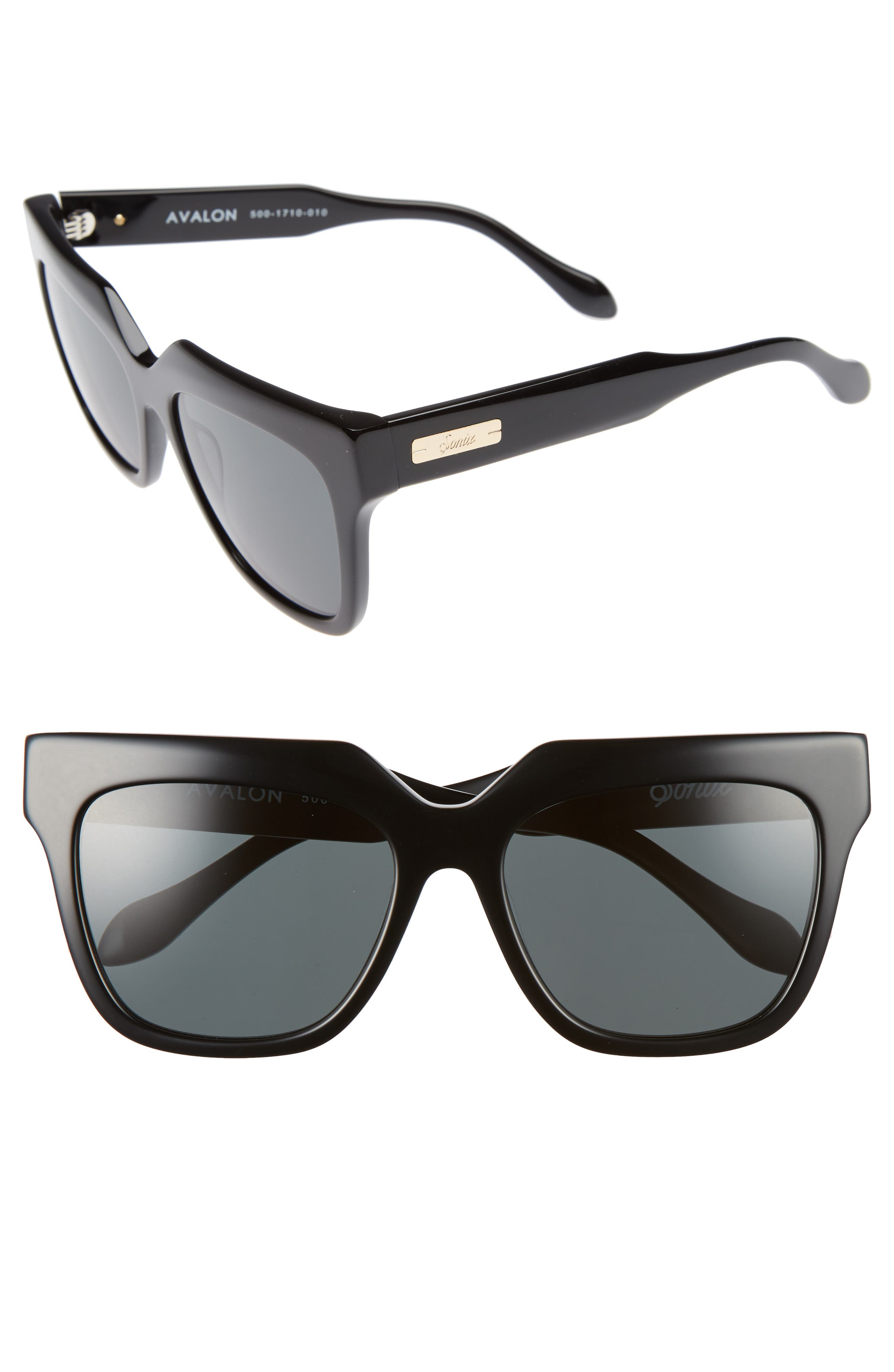 SONIX, Avalon 57mm Retro Sunglasses, Main thumbnail 1, color, 001