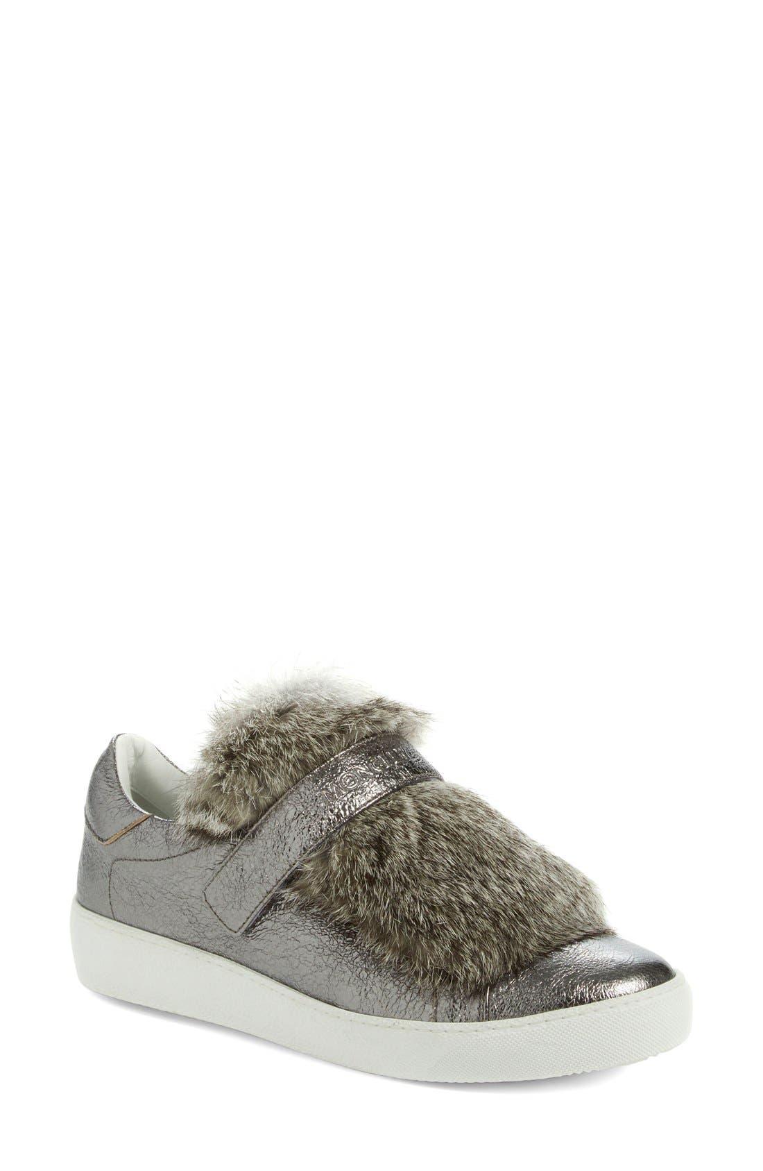 MONCLER, 'Lucie Scarpa' Genuine Rabbit Fur Trim Sneaker, Main thumbnail 1, color, 020