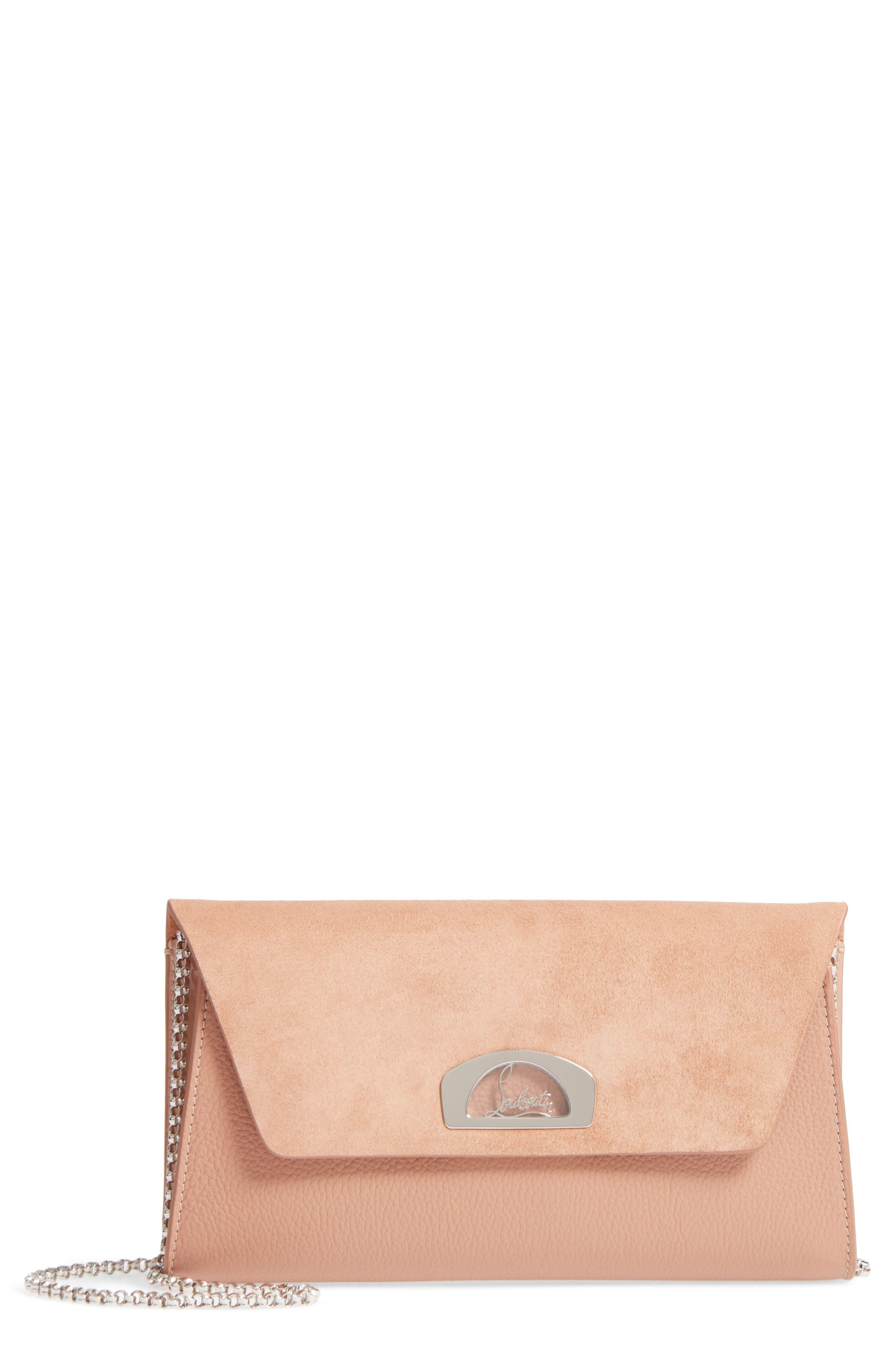 CHRISTIAN LOUBOUTIN Vero Dodat Velour Suede & Leather Clutch, Main, color, NUDE/ NUDE