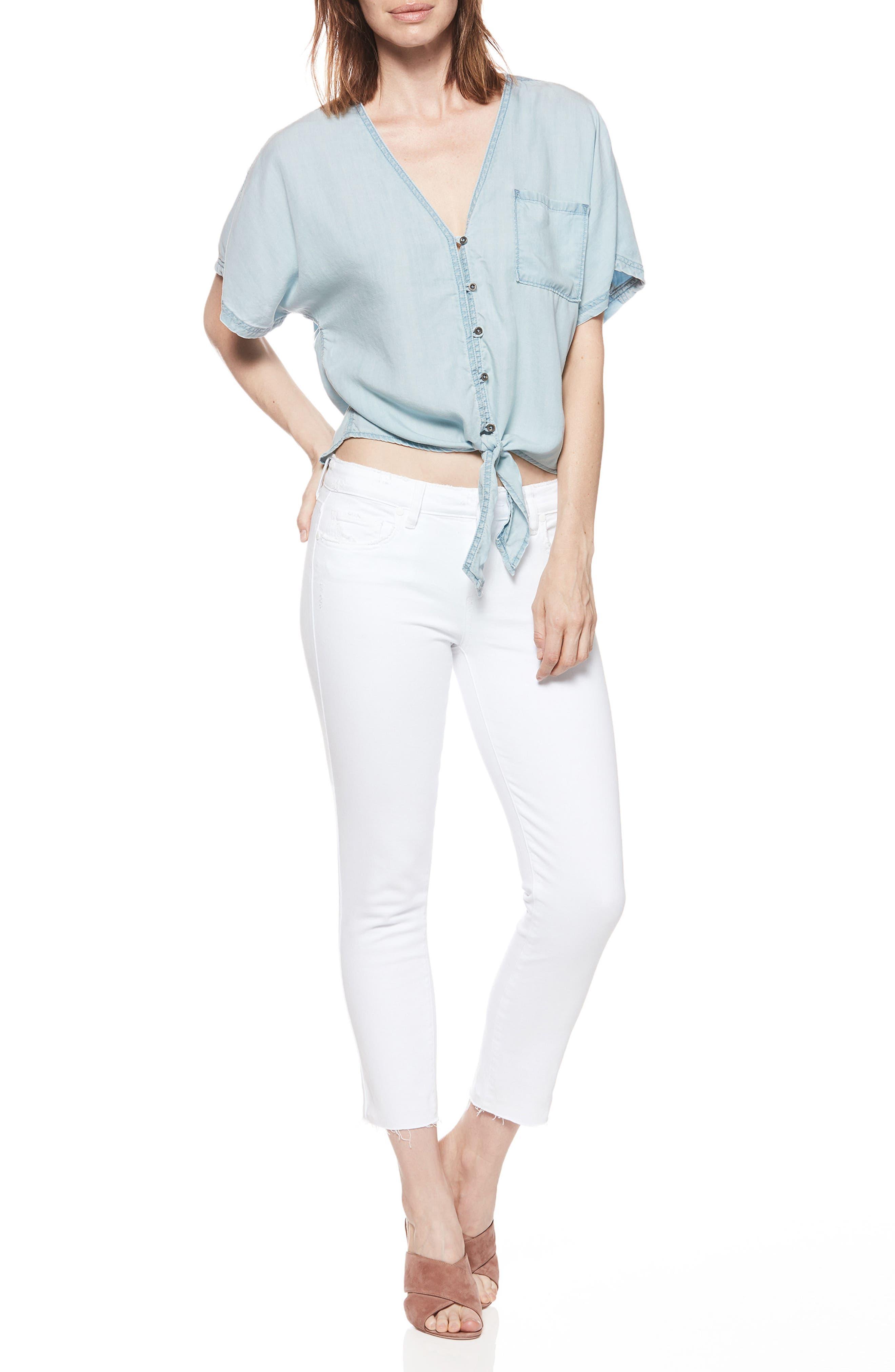 PAIGE, Skyline Raw Hem Crop Skinny Jeans, Alternate thumbnail 8, color, LIVED IN CRISP WHITE