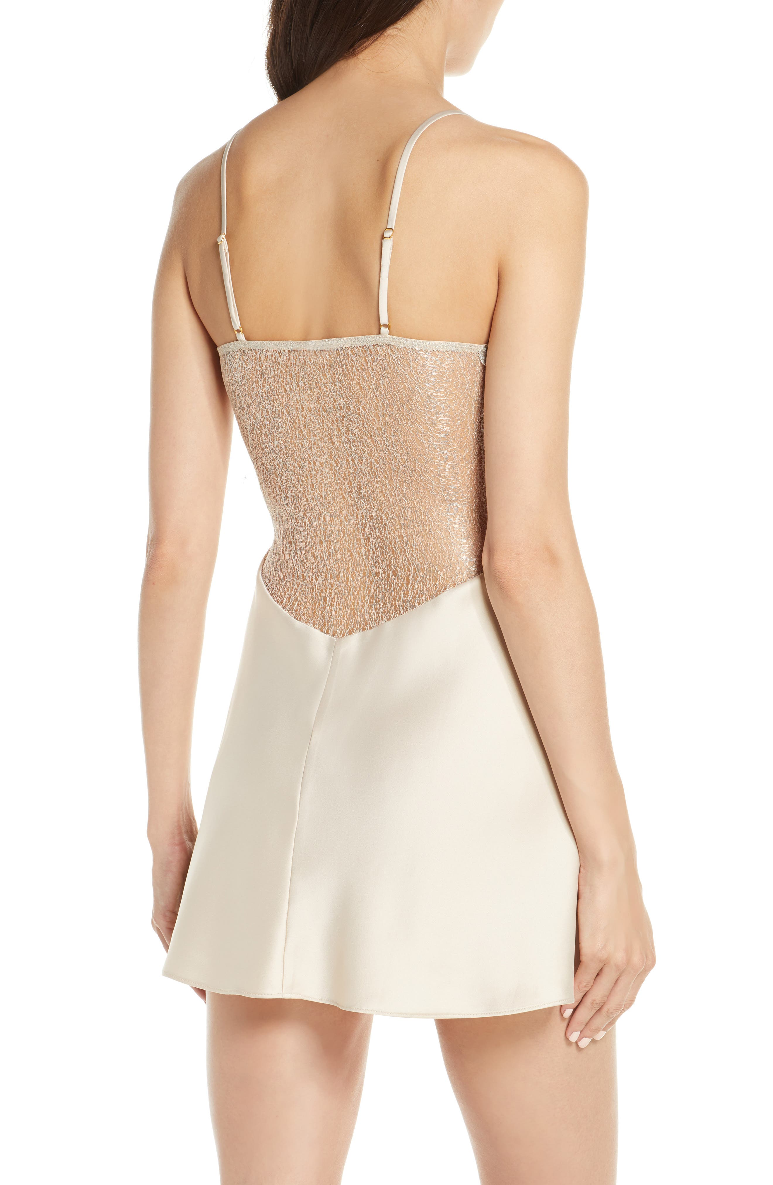 FLORA NIKROOZ, Showstopper Chemise, Alternate thumbnail 2, color, CHAMPAGNE