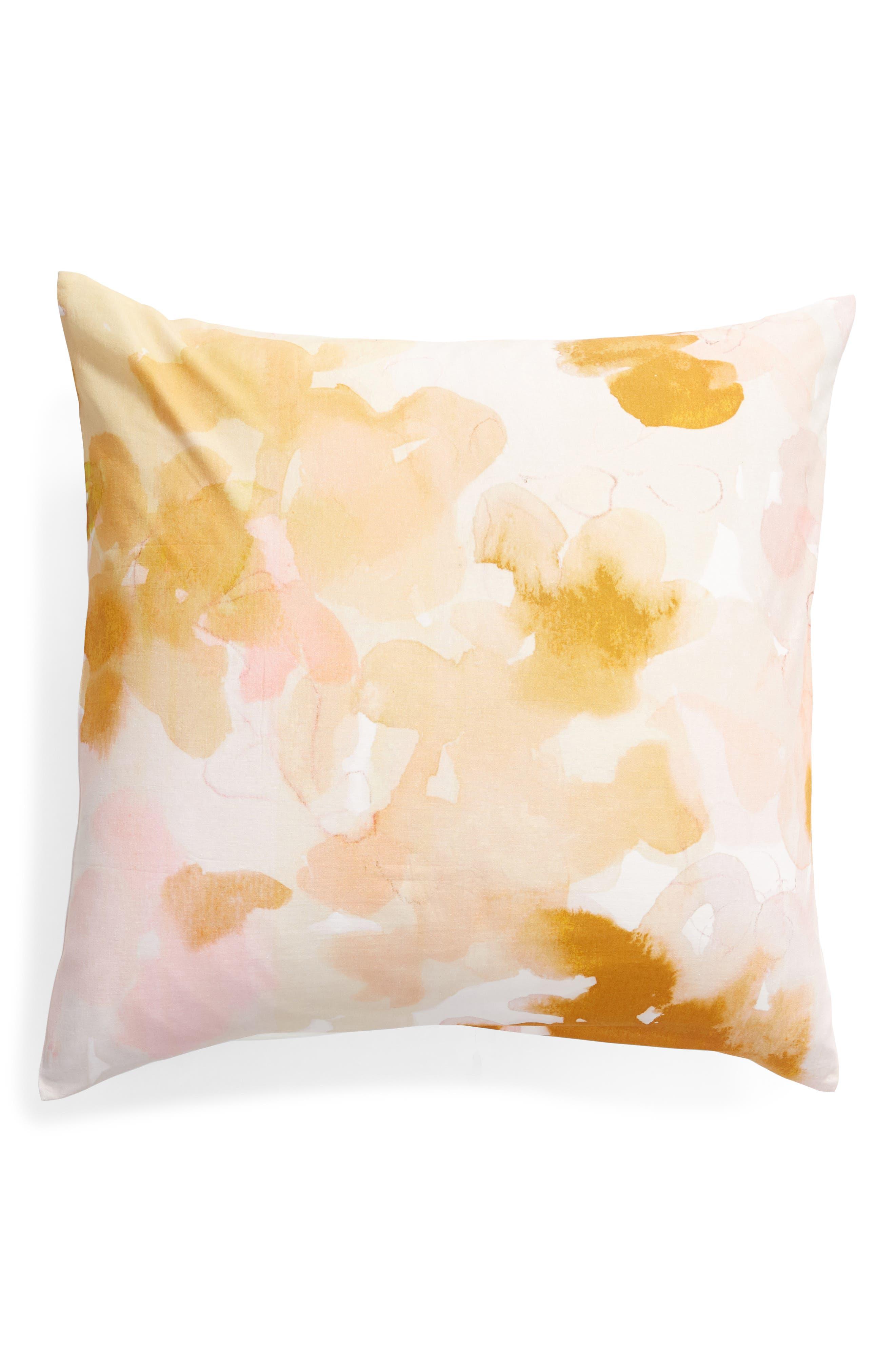 TREASURE & BOND, Veiled Blooms Print Euro Sham, Main thumbnail 1, color, GREY OWL MULTI