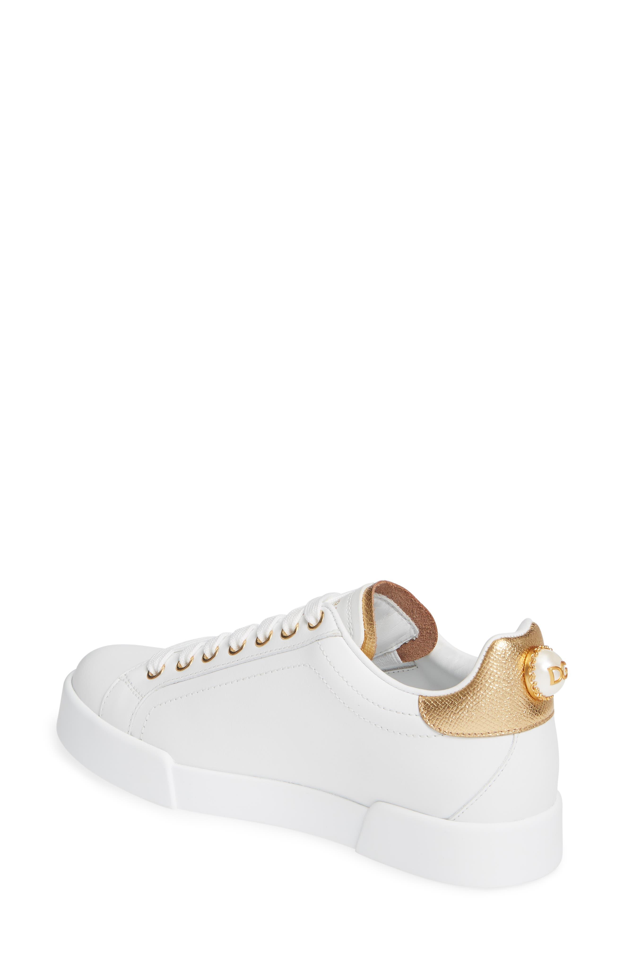 DOLCE&GABBANA, Portofino Embellished Sneaker, Alternate thumbnail 2, color, WHITE/ GOLD