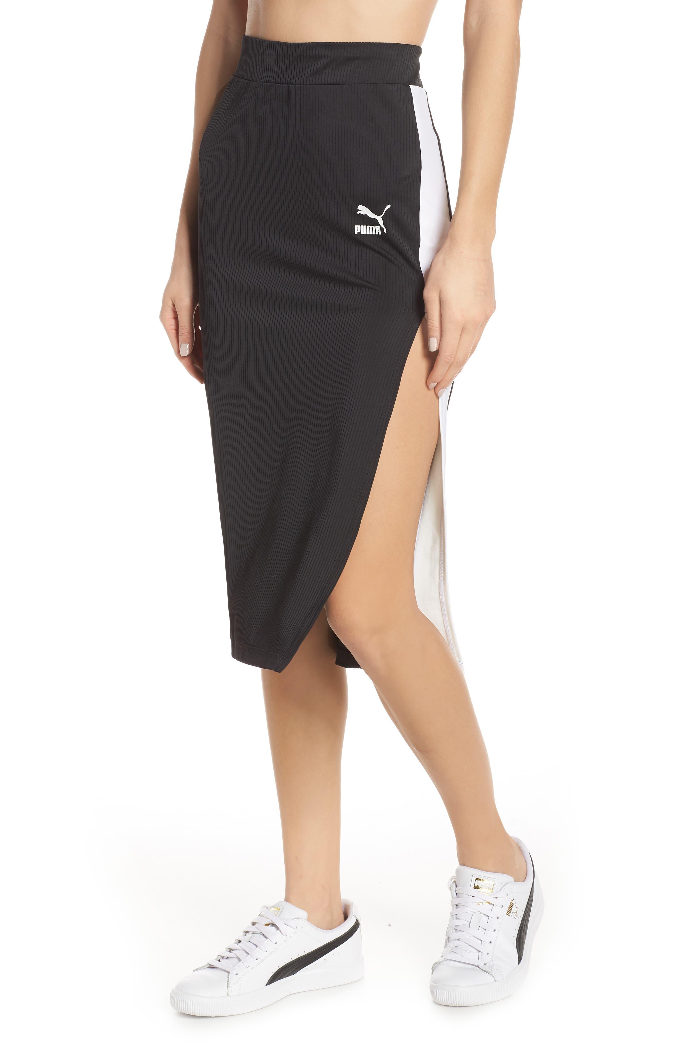 PUMA, Classics Ribbed Skirt, Main thumbnail 1, color, 001