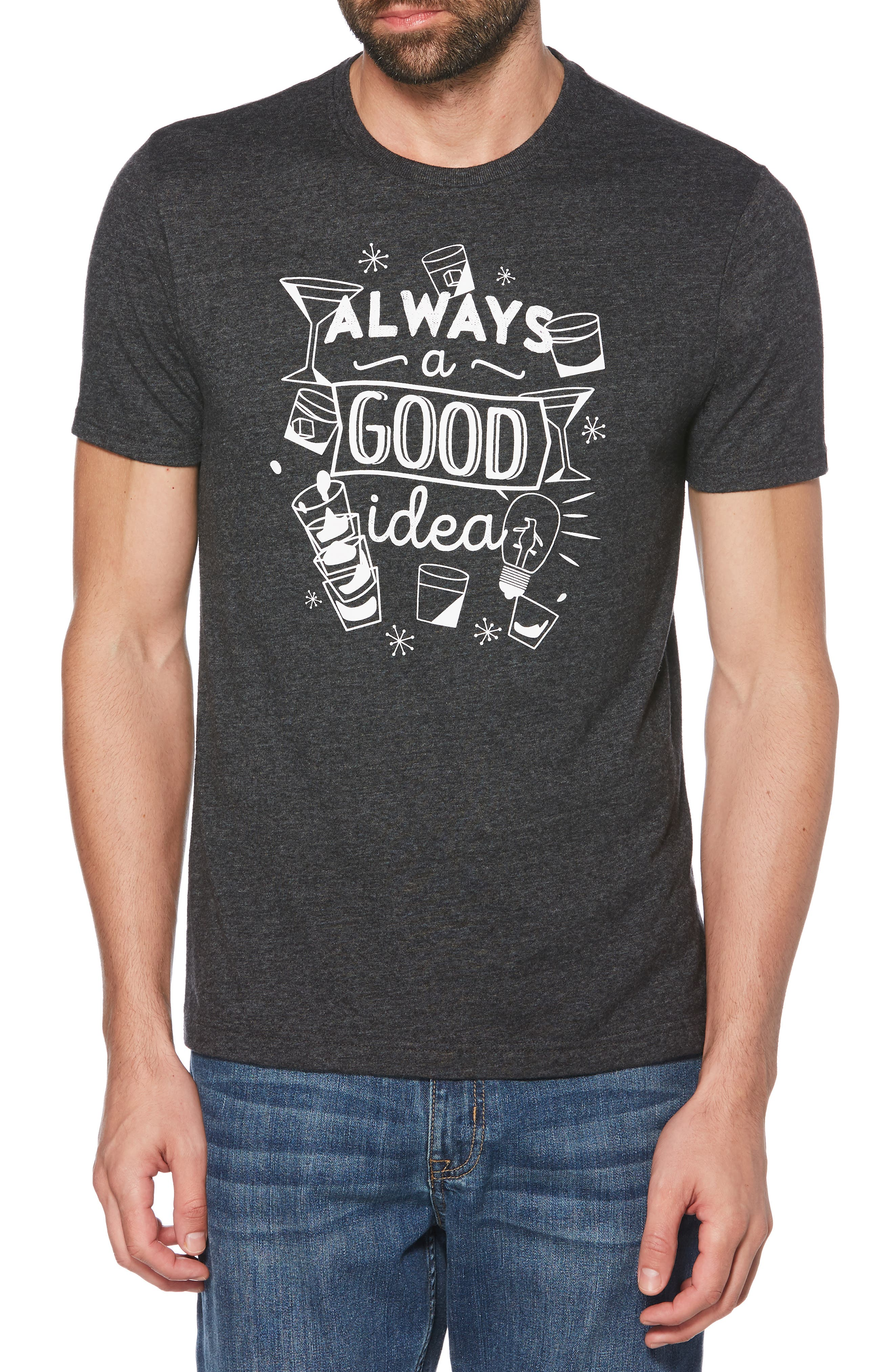 ORIGINAL PENGUIN, Always a Good Idea T-Shirt, Main thumbnail 1, color, DARK CHARCOAL HEATHER