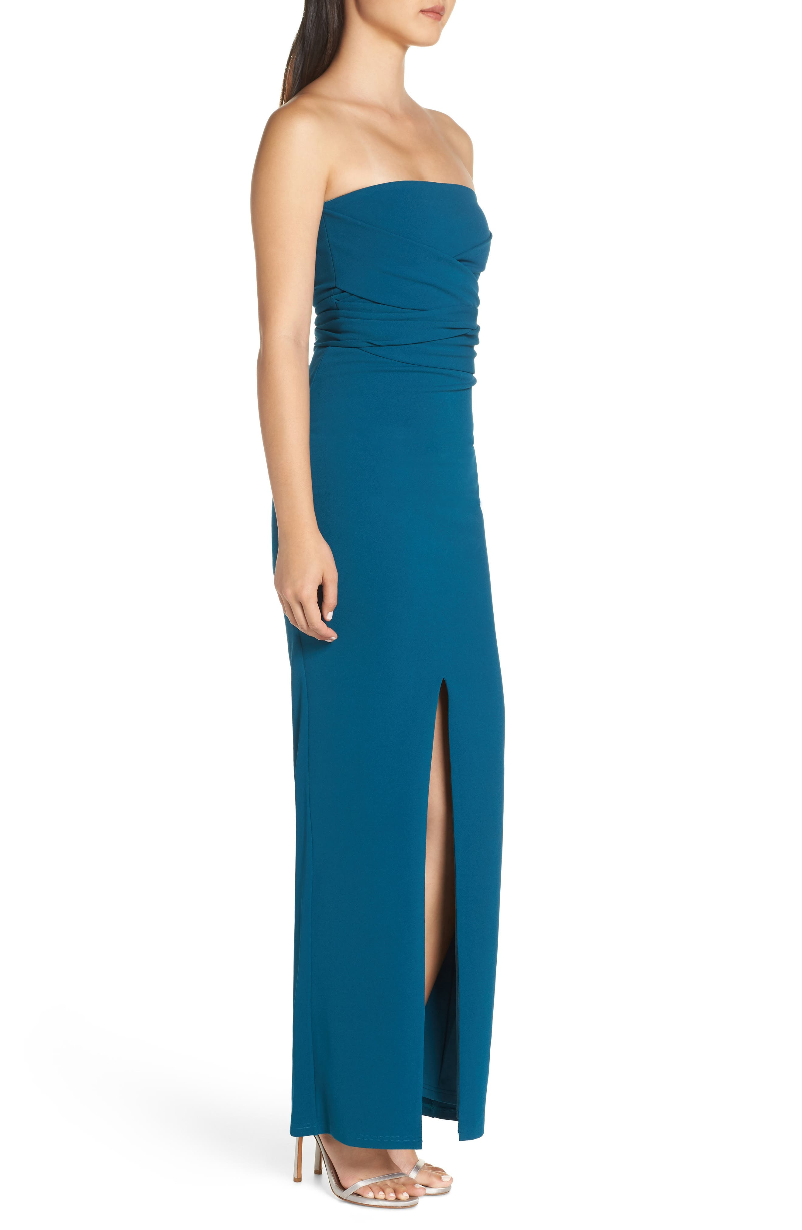LULUS, Own the Night Strapless Maxi Dress, Alternate thumbnail 4, color, TURQUOISE