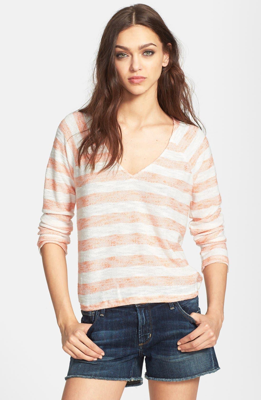 SANCTUARY, 'Beach' V-Neck Knit Sweater, Main thumbnail 1, color, 832
