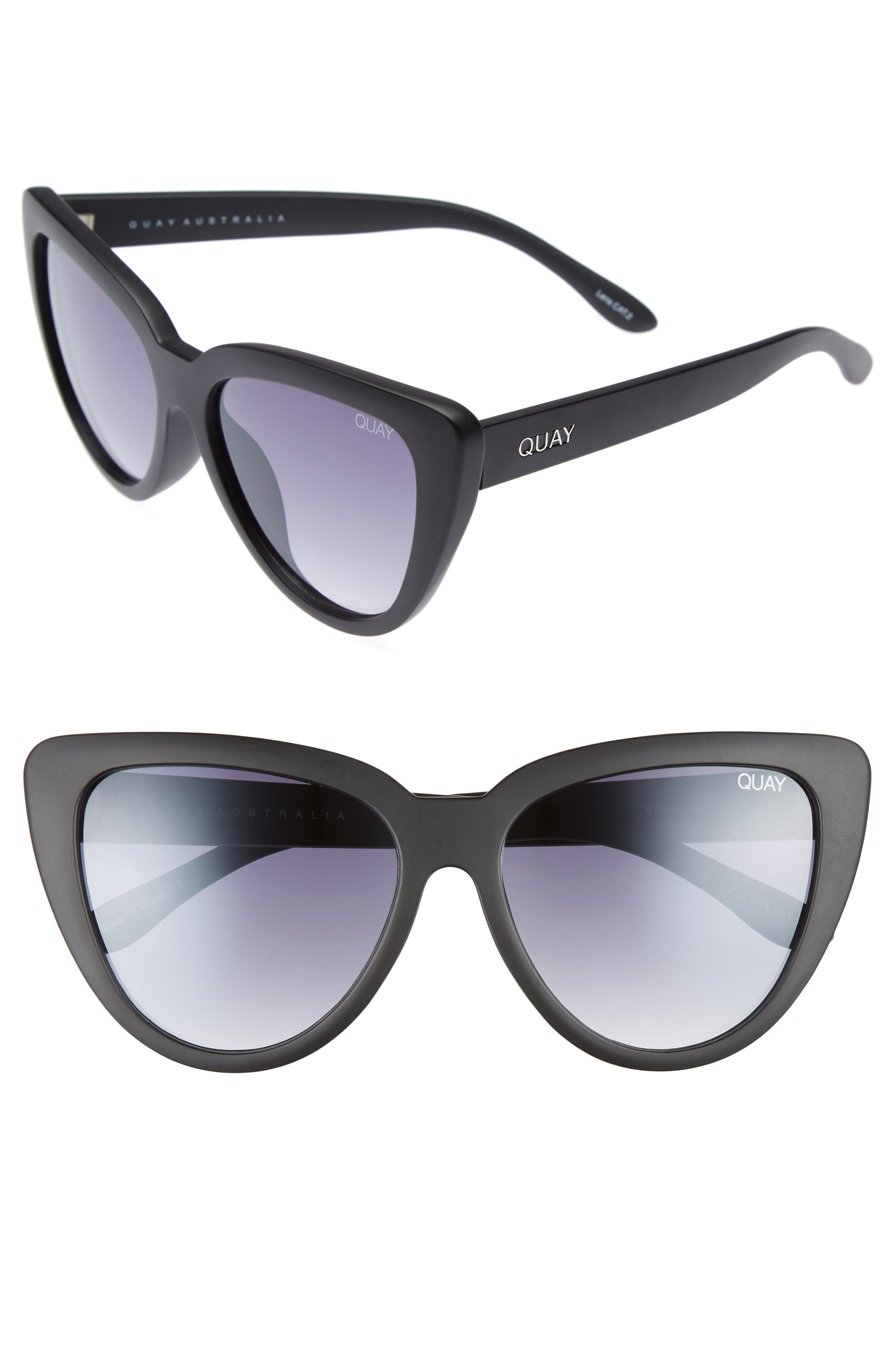 QUAY AUSTRALIA, Stray Cat 58mm Mirrored Cat Eye Sunglasses, Main thumbnail 1, color, 001
