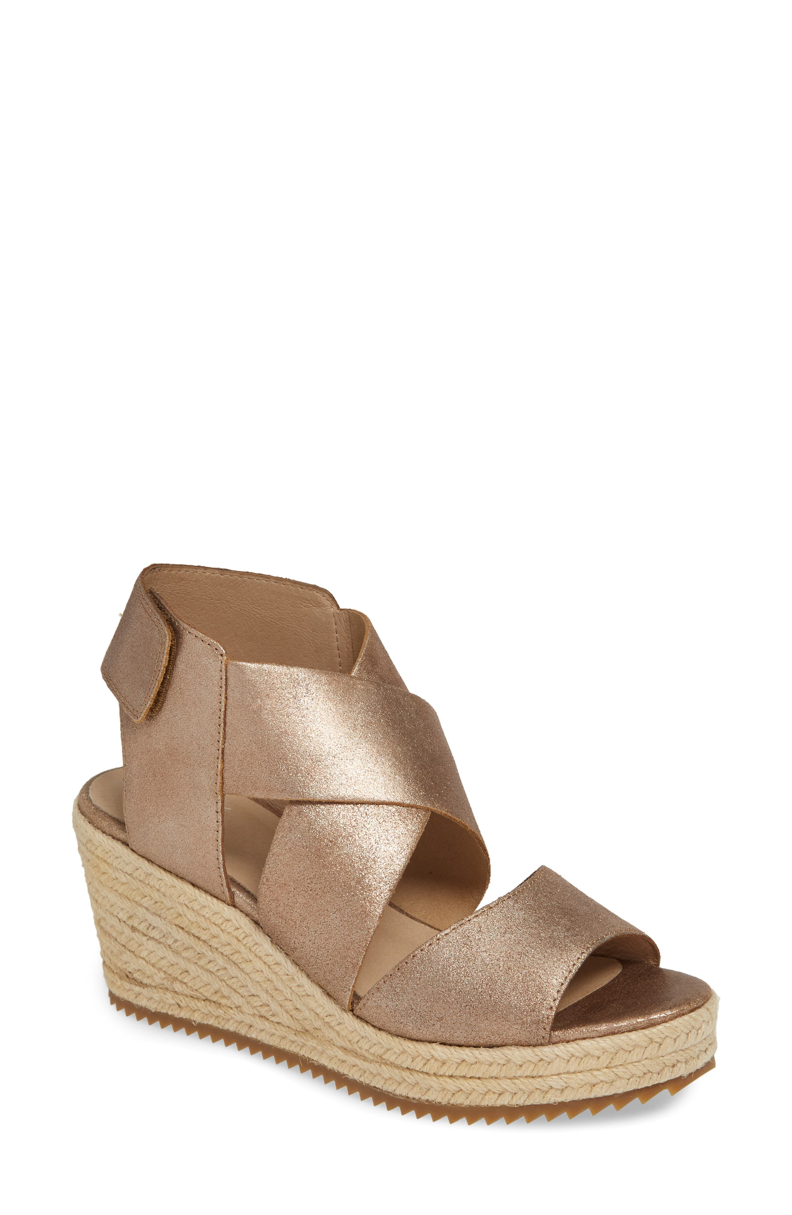 EILEEN FISHER, 'Willow' Espadrille Wedge Sandal, Main thumbnail 1, color, BRONZE/ BRONZE LEATHER