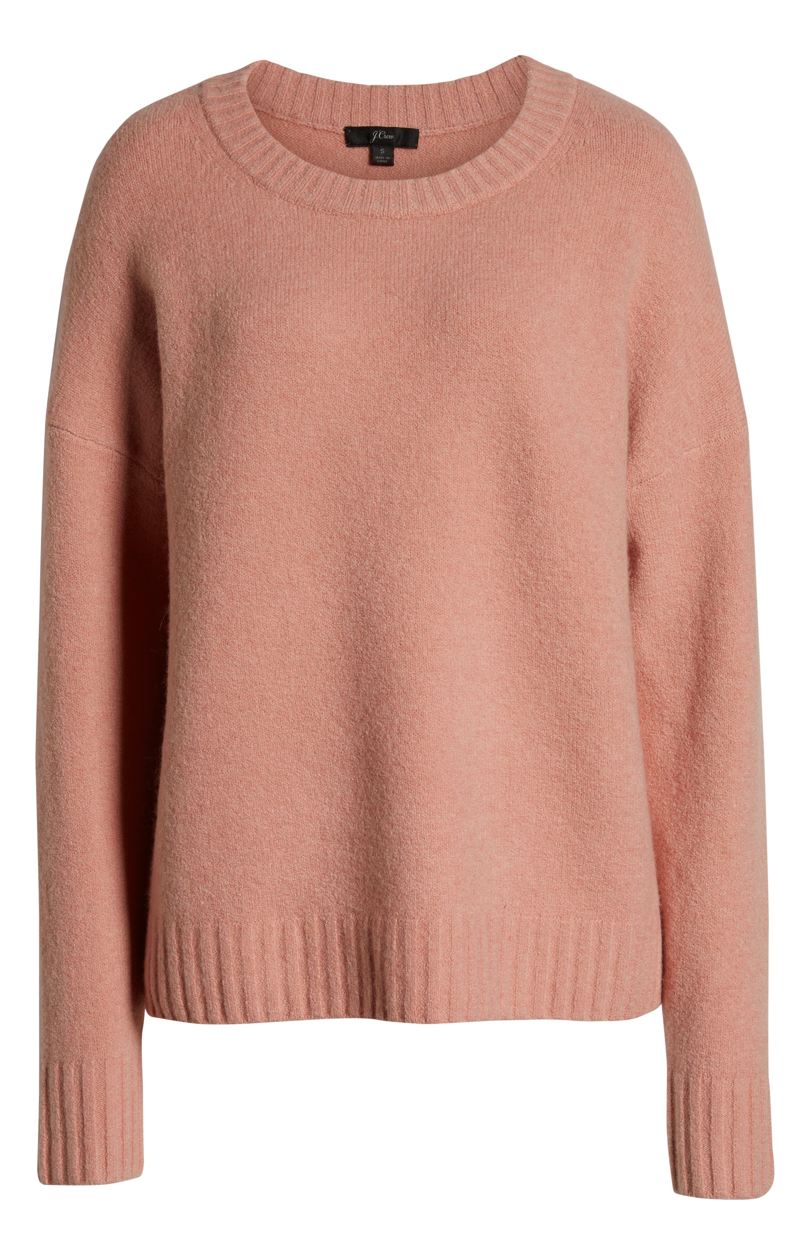 J.CREW, Supersoft Oversize Crewneck Sweater, Alternate thumbnail 6, color, 650