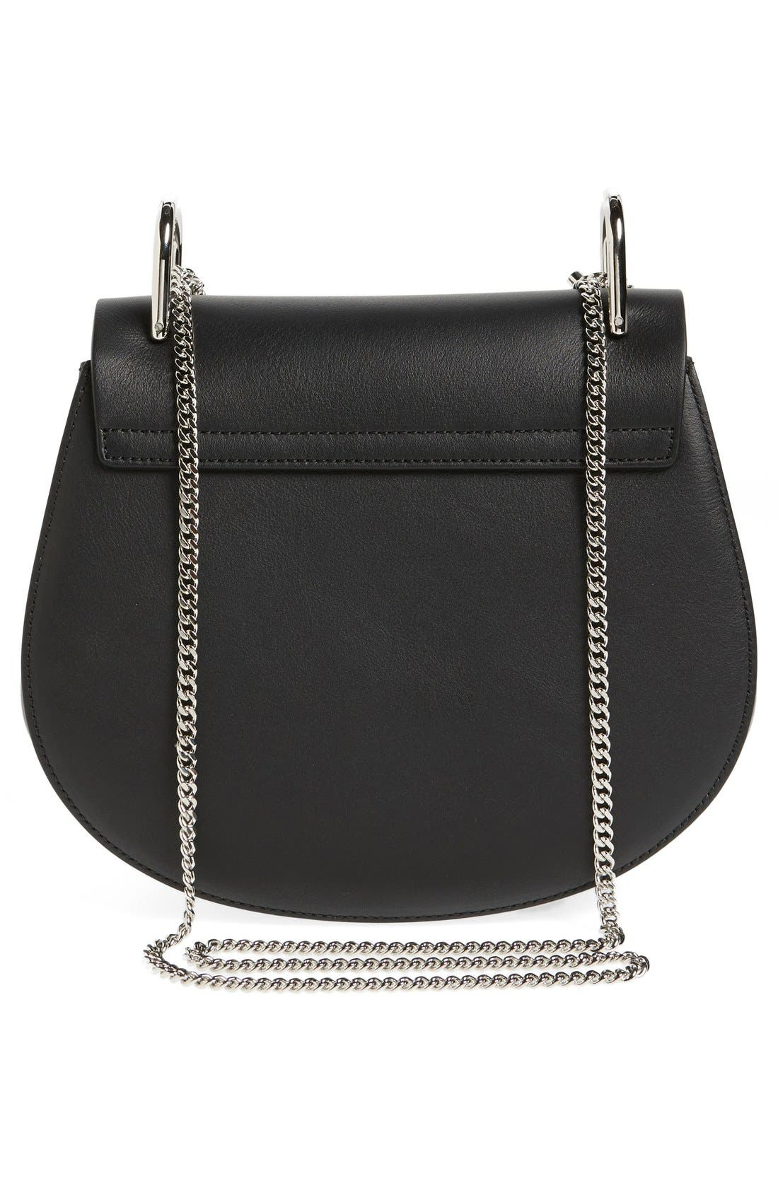 CHLOÉ, Small Drew Leather & Suede Shoulder Bag, Alternate thumbnail 6, color, 001