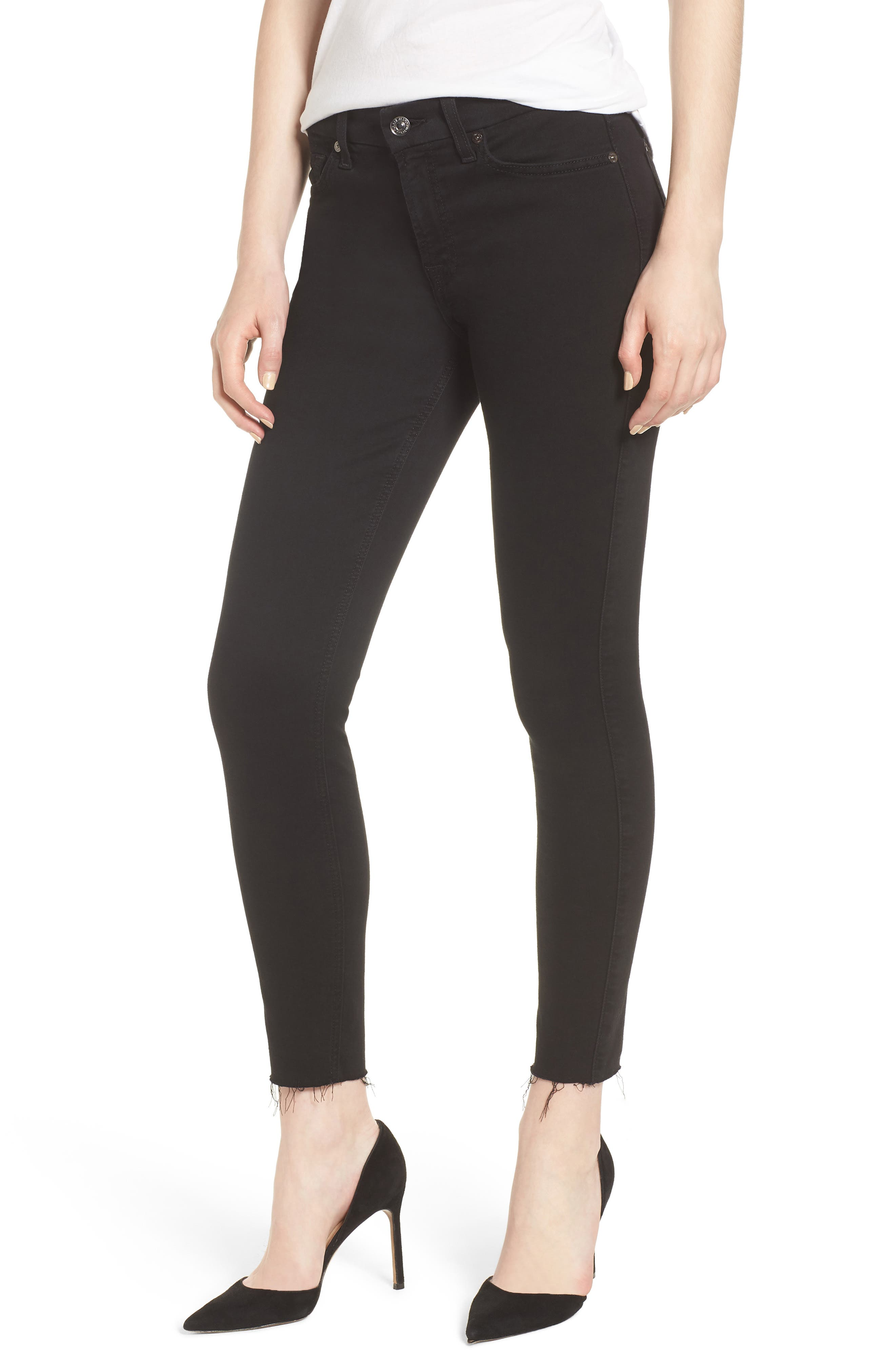 7 FOR ALL MANKIND<SUP>®</SUP> b(air) Raw Hem Crop Skinny Jeans, Main, color, BAIR BLACK