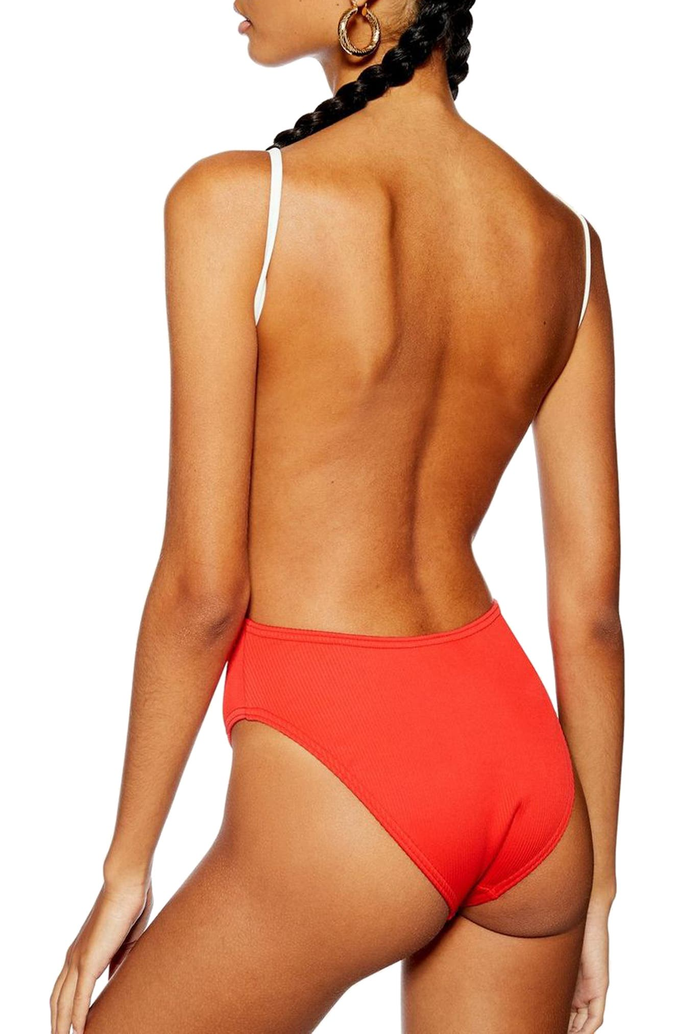TOPSHOP, Pamela Button Ribbed One-Piece Swimsuit, Alternate thumbnail 2, color, RED