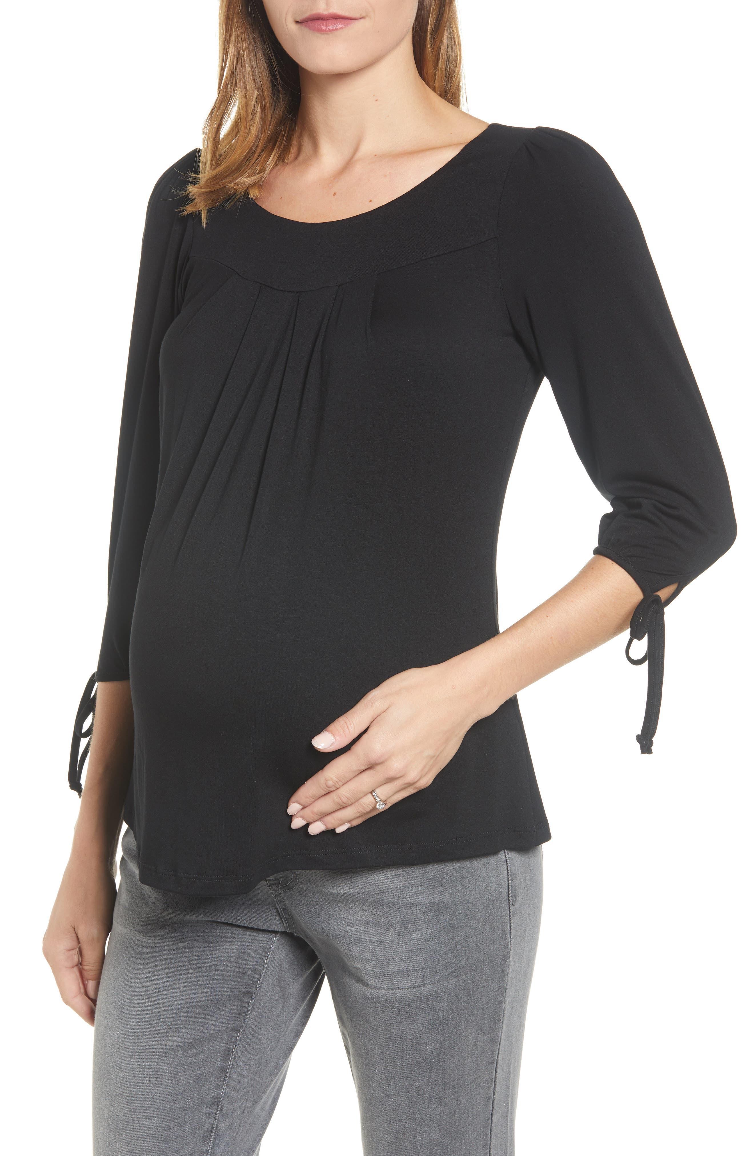 MATERNAL AMERICA, Maternity Tie Sleeve Top, Alternate thumbnail 2, color, BLACK
