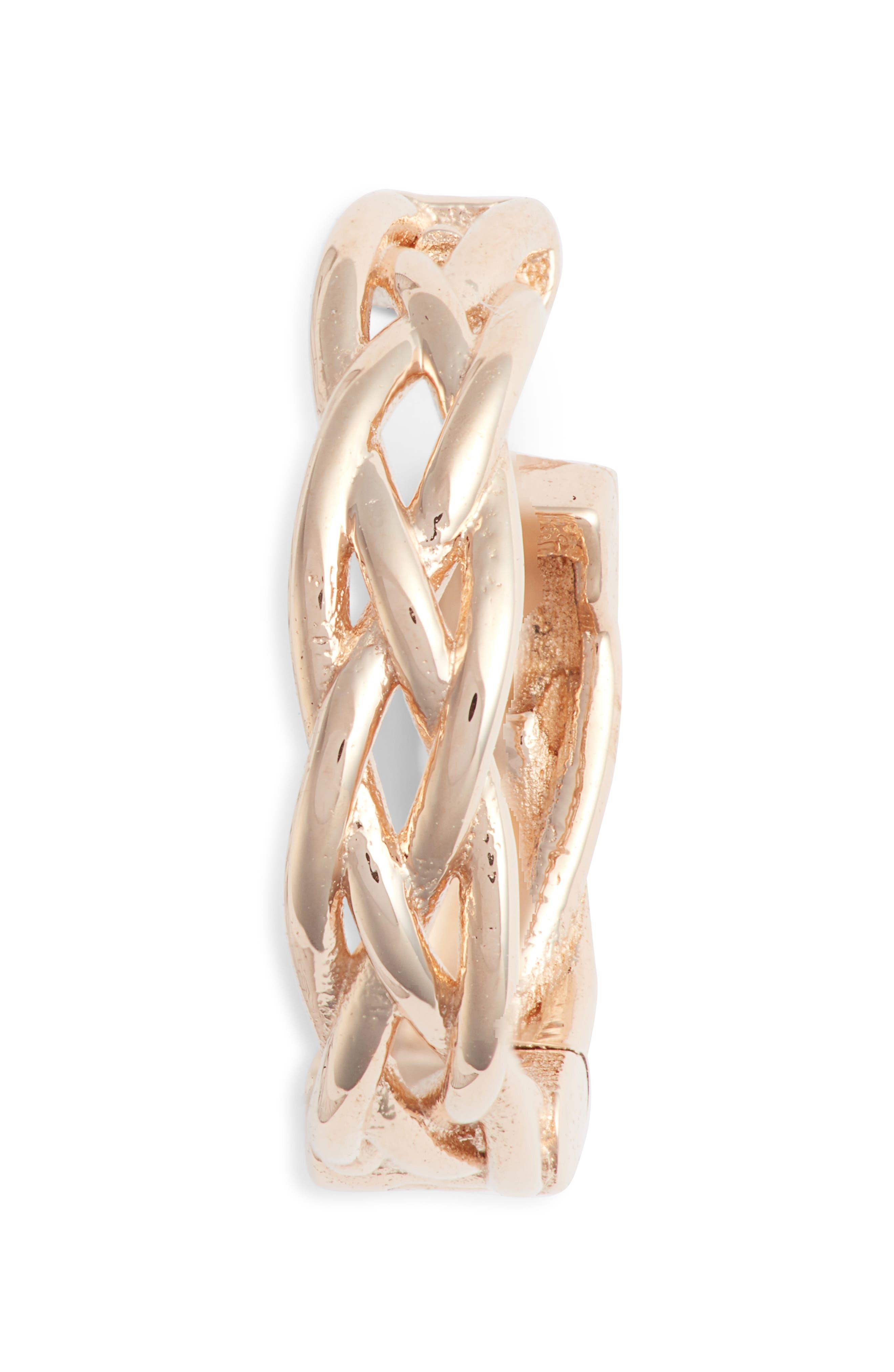 KISMET BY MILKA Braided Hoop Earring, Main, color, ROSE GOLD