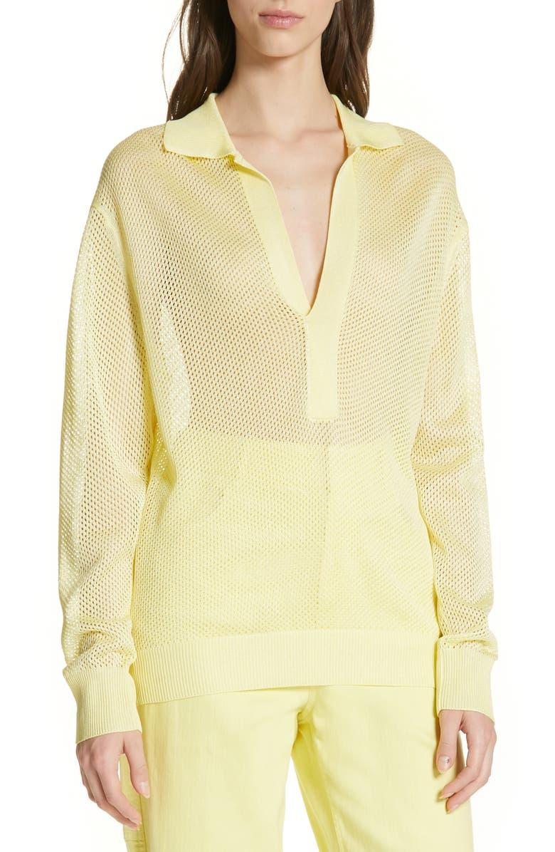 Tibi Sweaters CRISPY VISCOSE BLEND POLO SWEATER