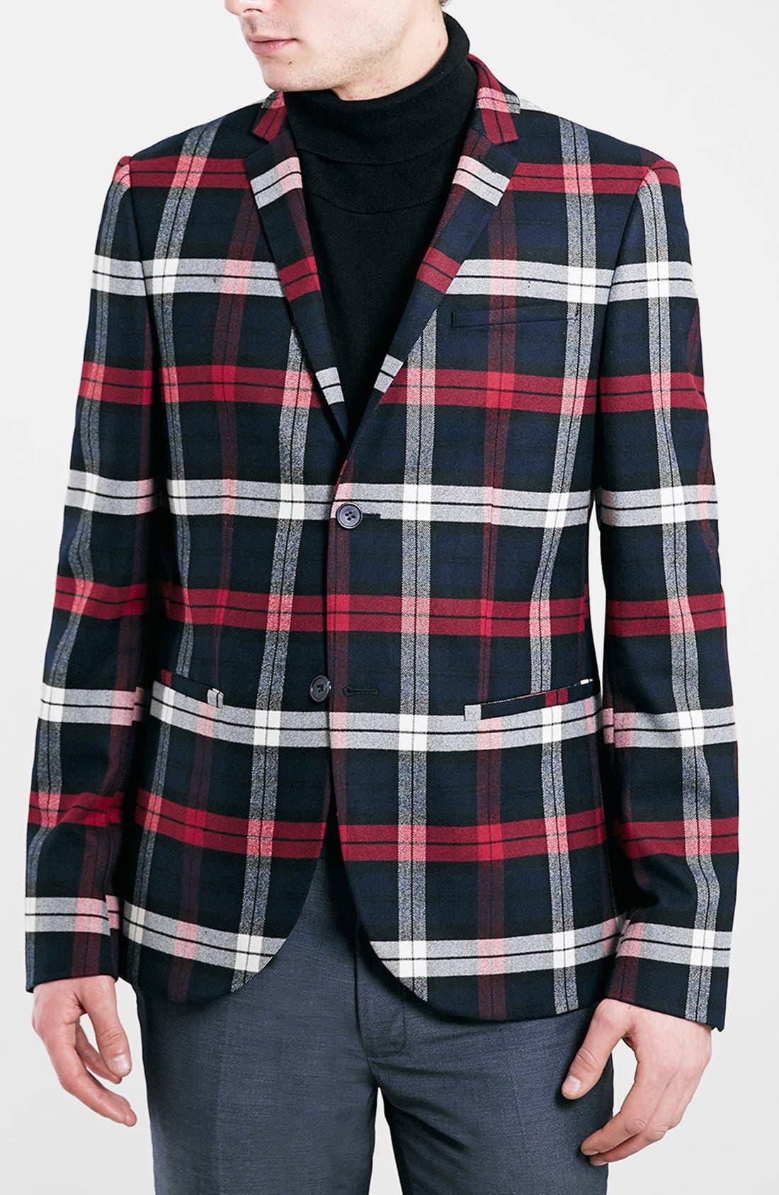 TOPMAN Skinny Fit Tartan Check Blazer, Main, color, 410