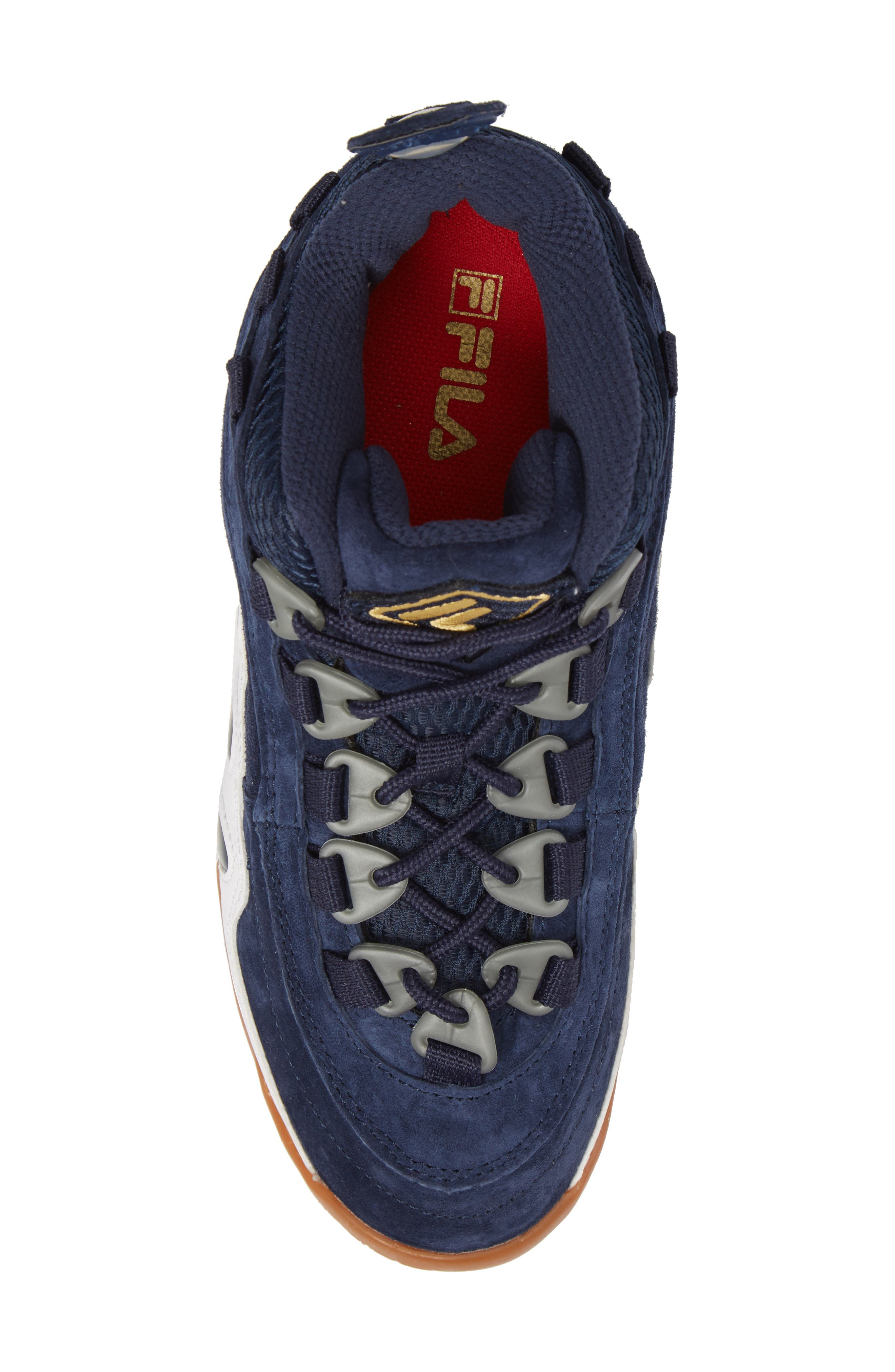 FILA, Bubbles Mid Top Sneaker Boot, Alternate thumbnail 5, color, NAVY/ GOLD/ WHITE