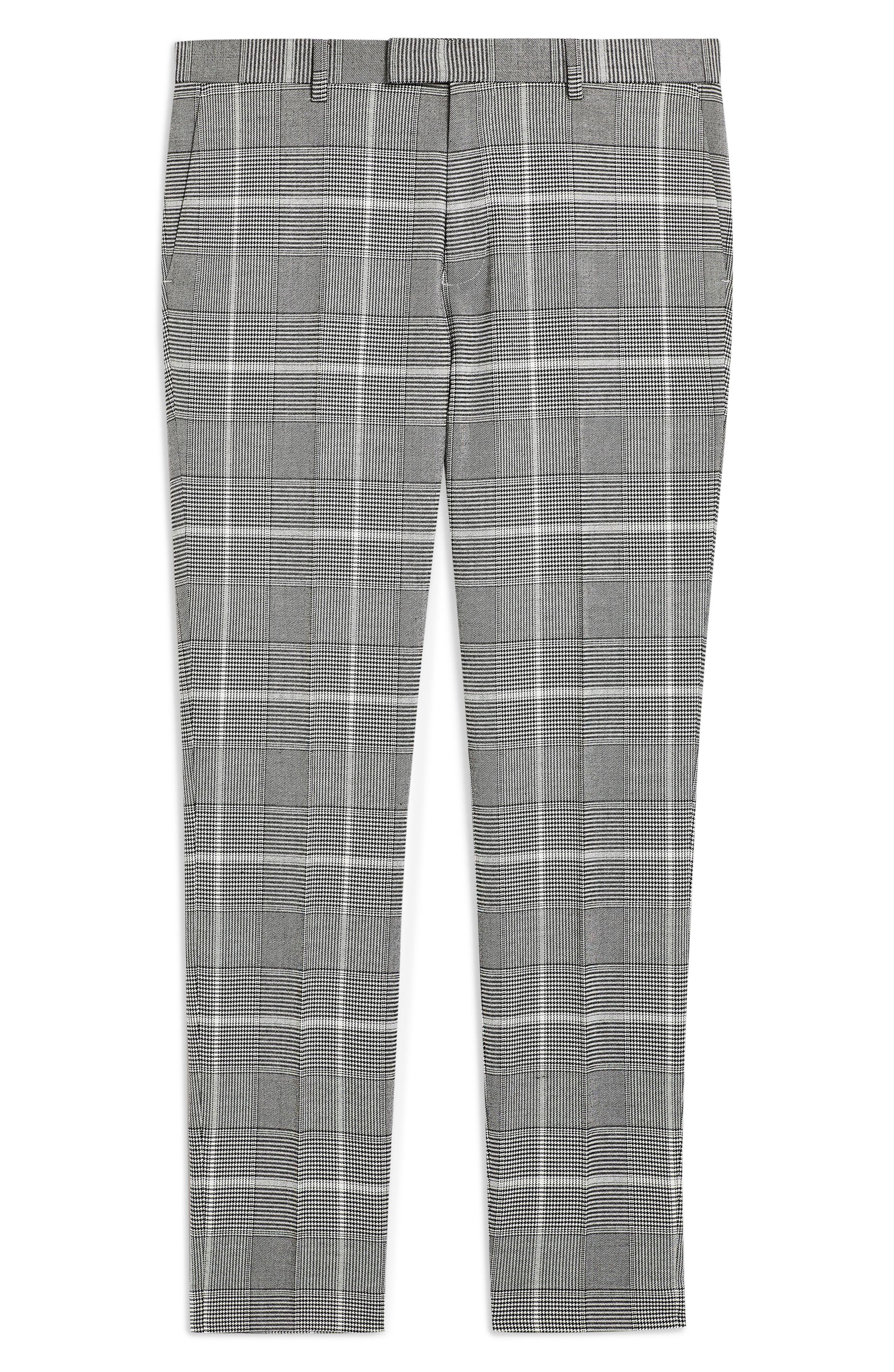 TOPMAN, Skinny Fit Check Trousers, Alternate thumbnail 4, color, 020
