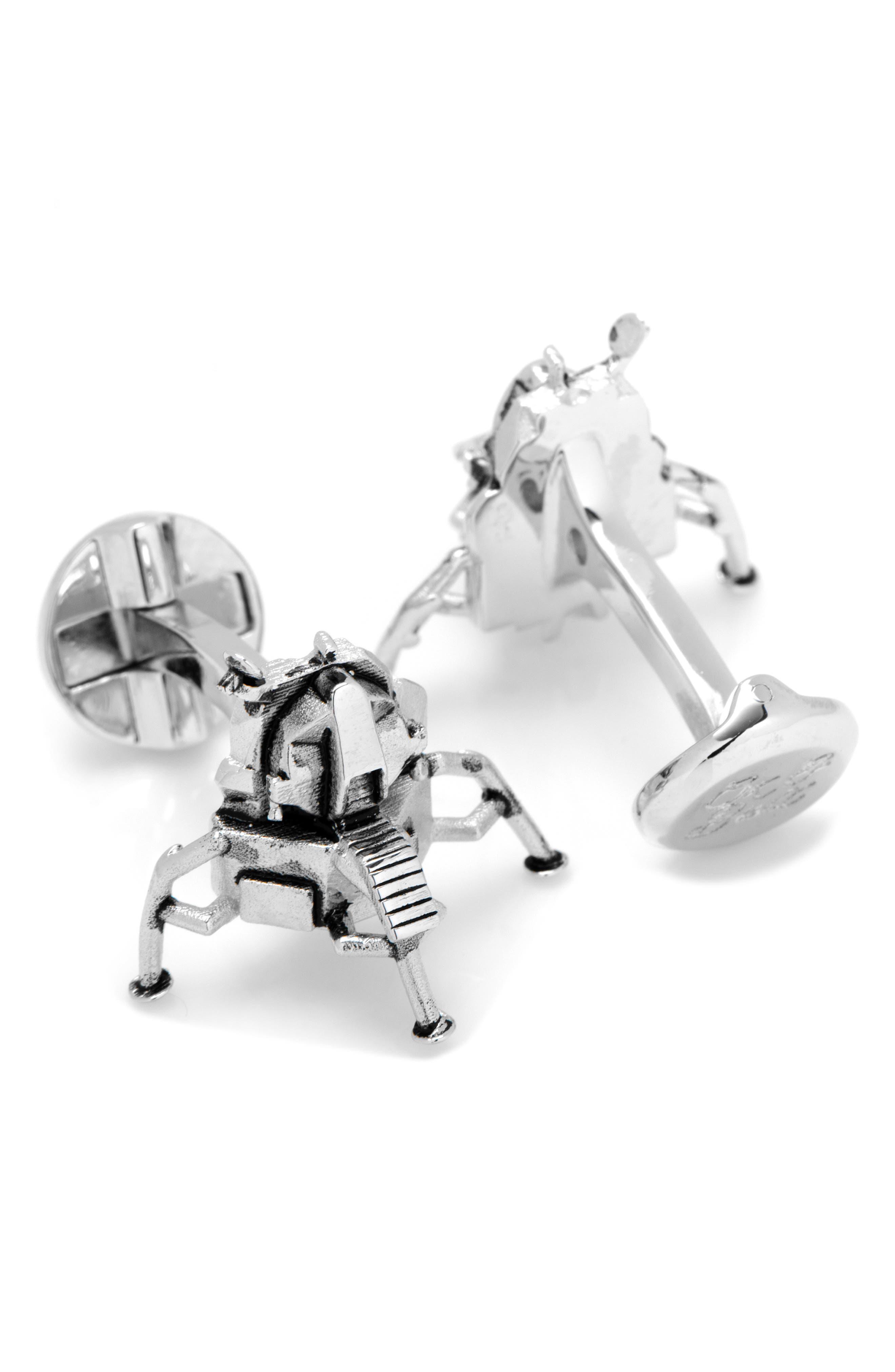 CUFFLINKS, INC., 3D Moon Lander Cuff Links, Alternate thumbnail 2, color, SILVER