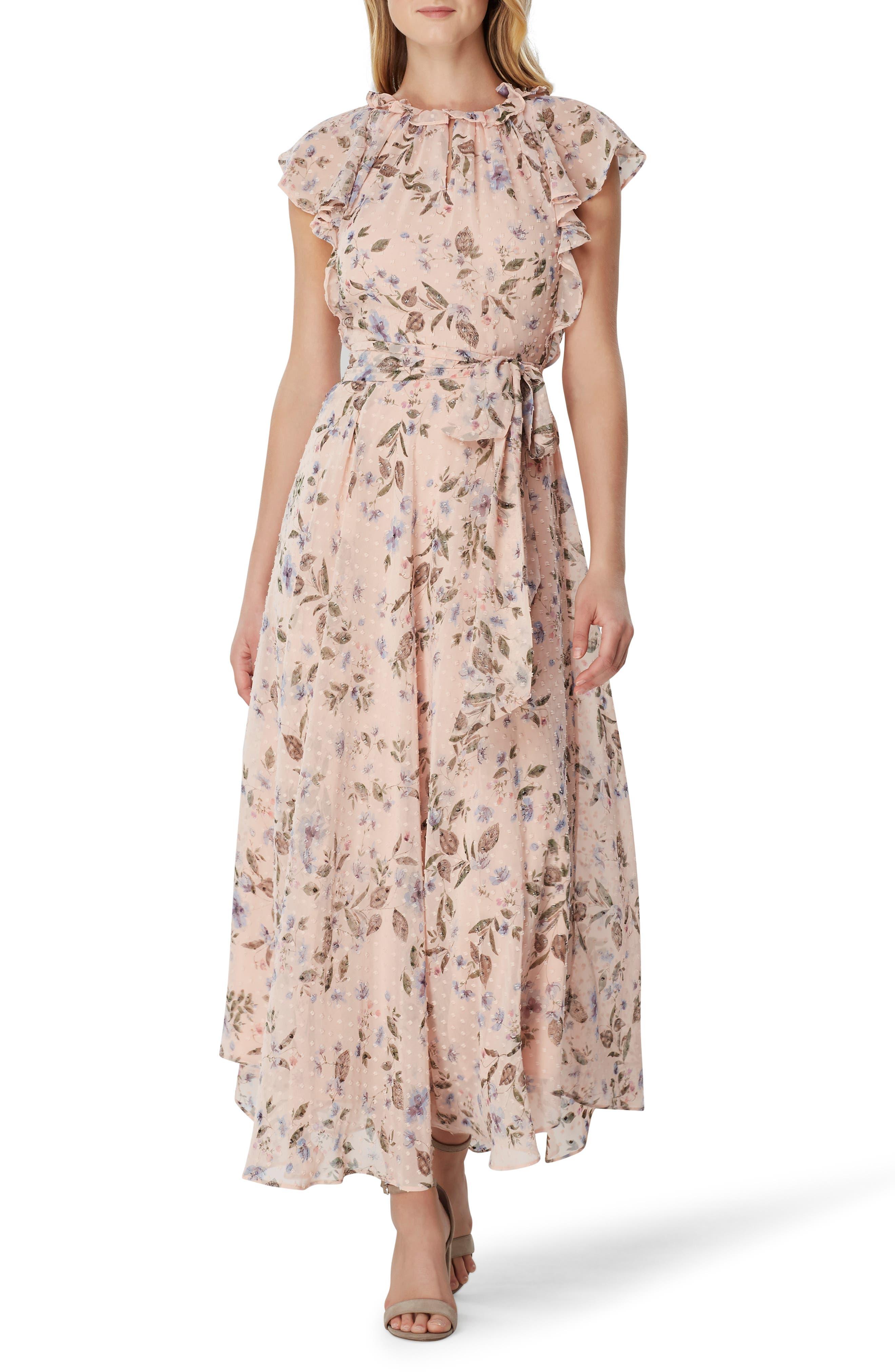 Tahari Swiss Dot Maxi Dress, Pink