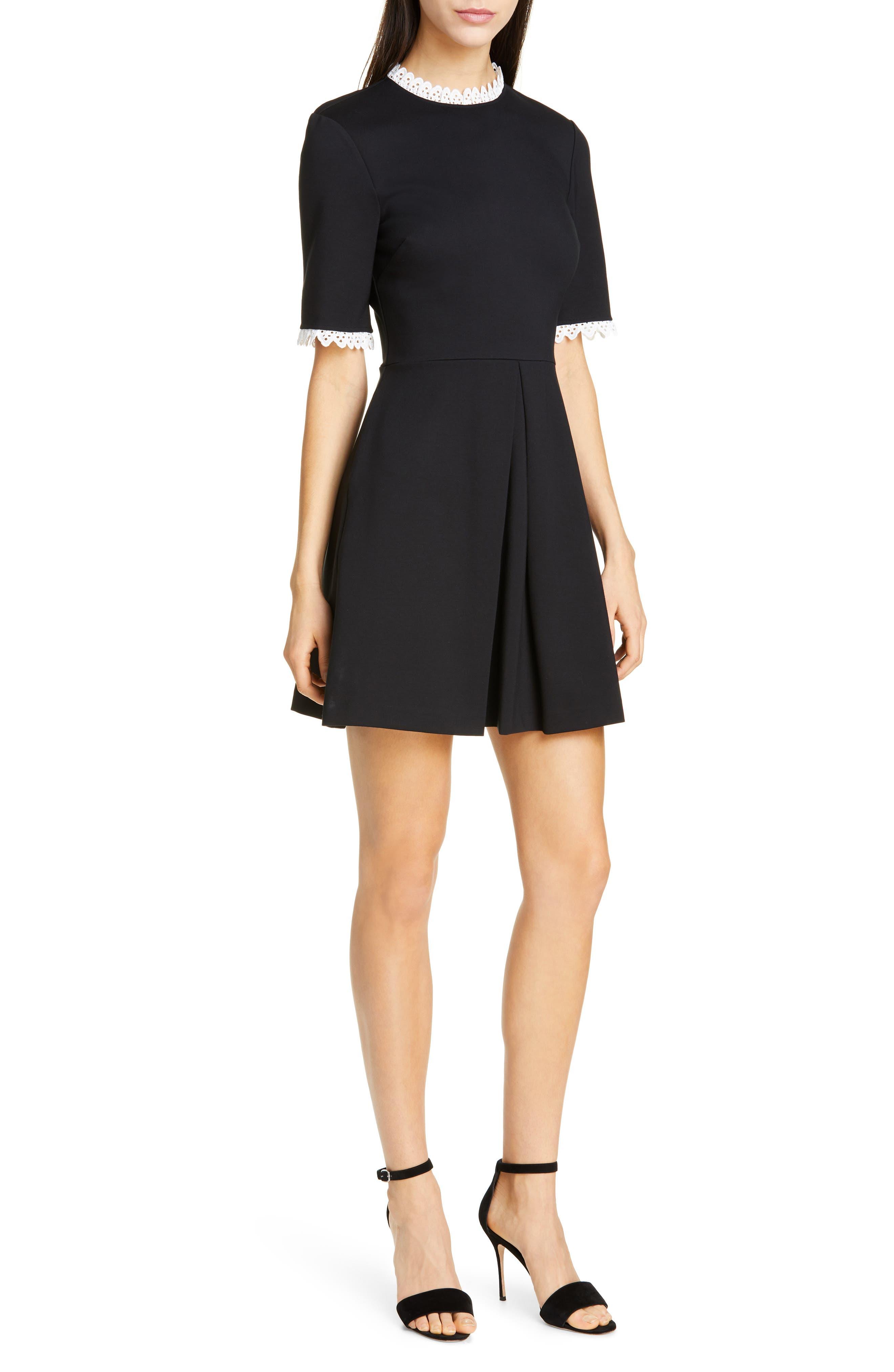 Ted Baker London Blussum Broderie Trim A-Line Dress, Black