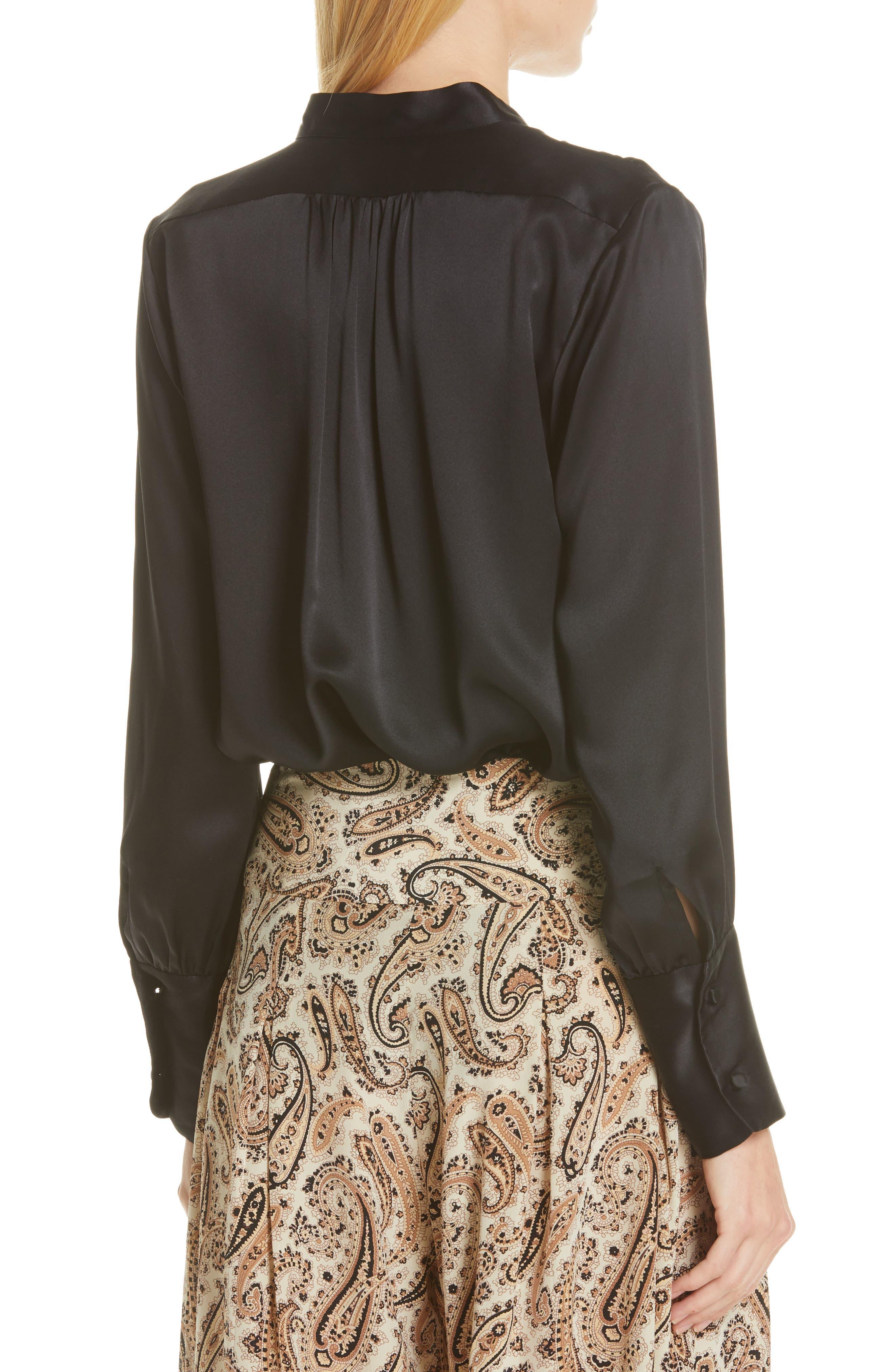 NILI LOTAN, Colette Silk Blouse, Alternate thumbnail 2, color, BLACK