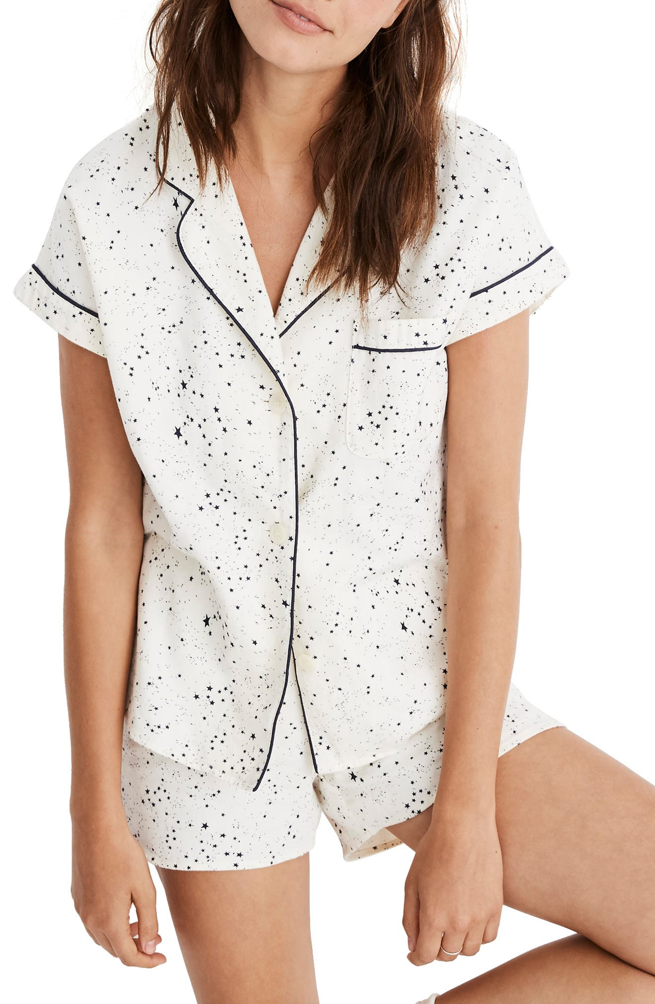 MADEWELL, Flannel Bedtime Pajamas, Main thumbnail 1, color, PEARL IVORY