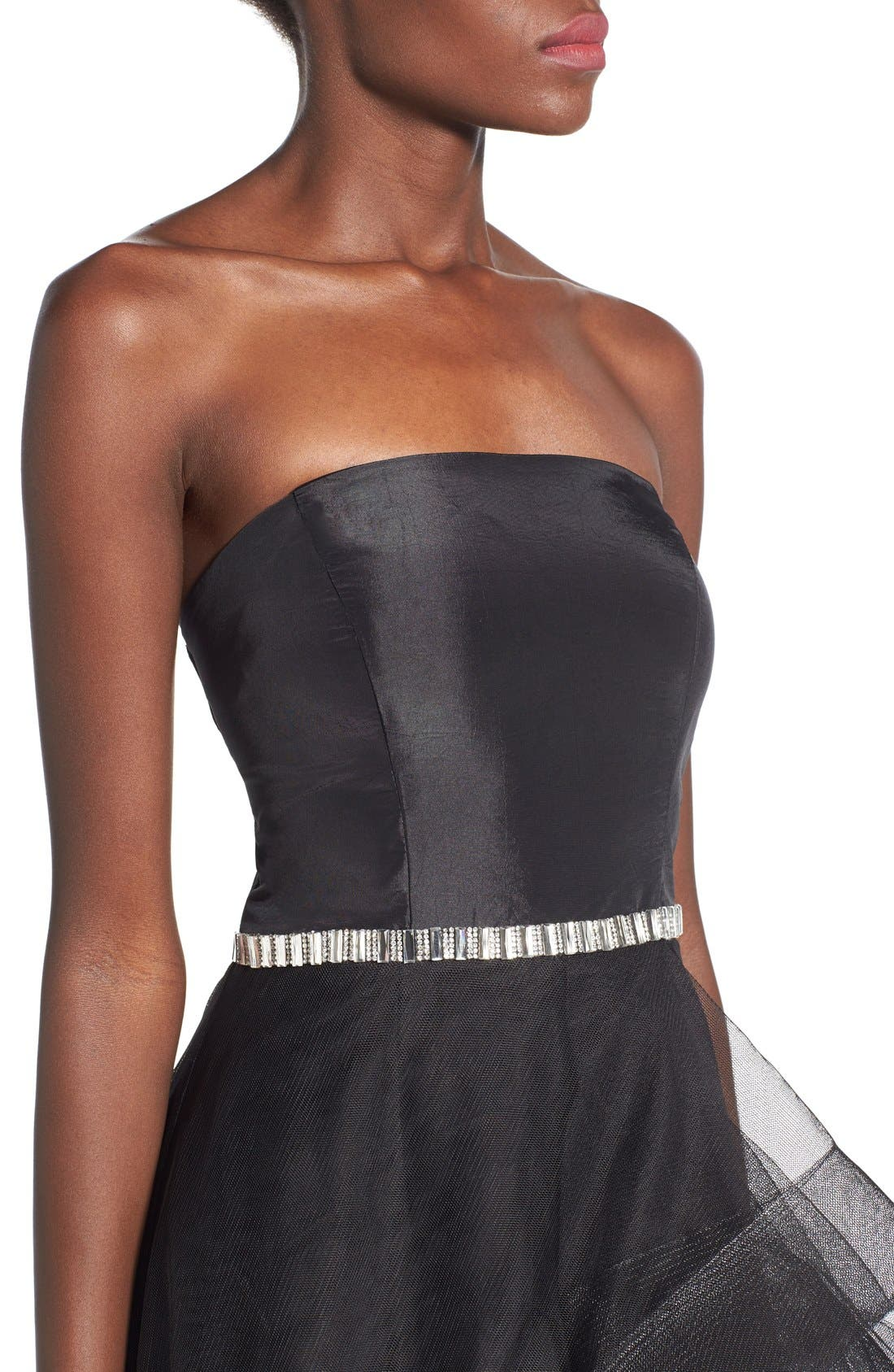WAY-IN, 'Susie' Embellished Waist Tulle Strapless Dress, Alternate thumbnail 5, color, 001