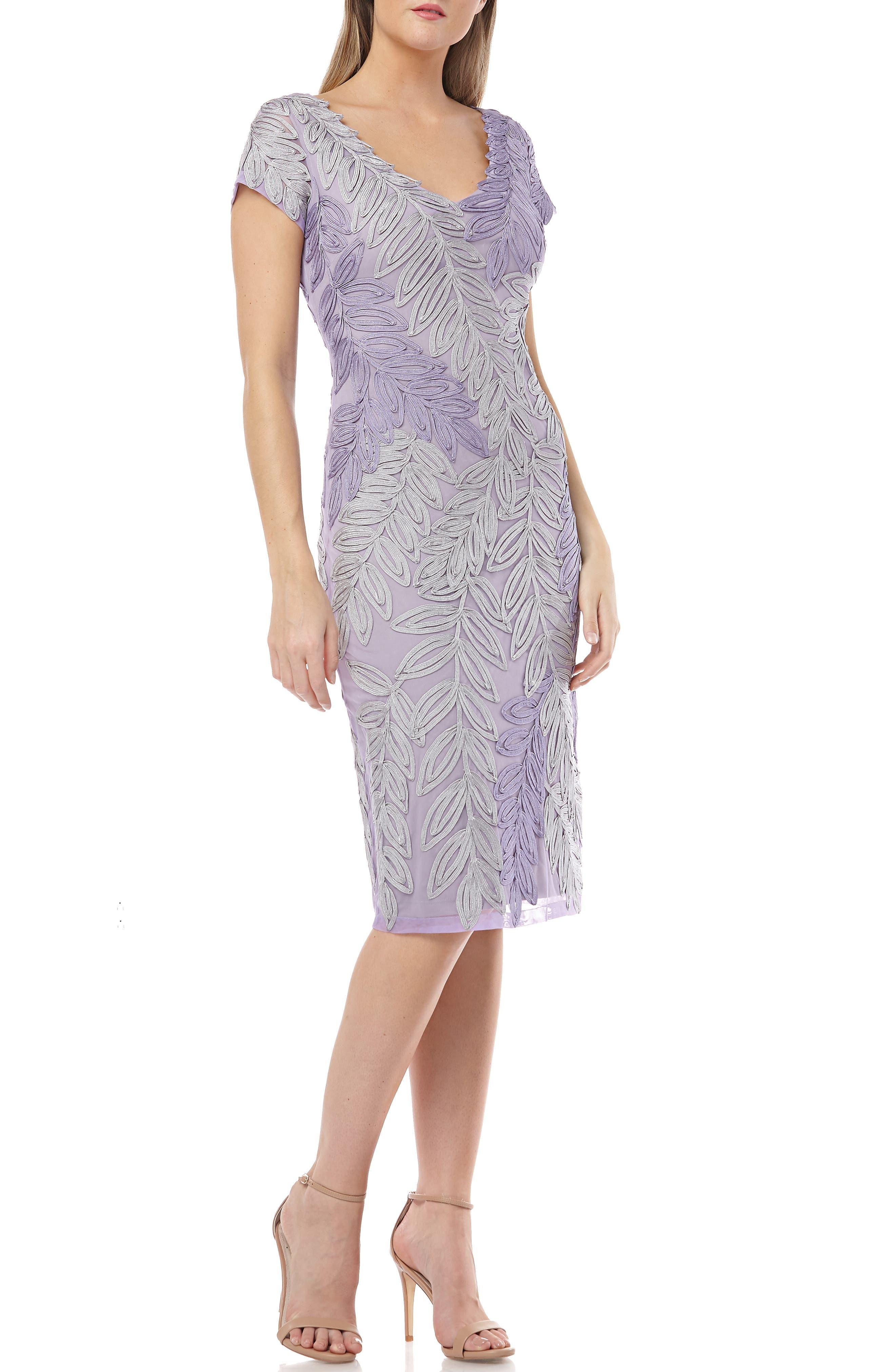 Js Collections Leaf Soutache V-Neck Sheath Dress, Purple