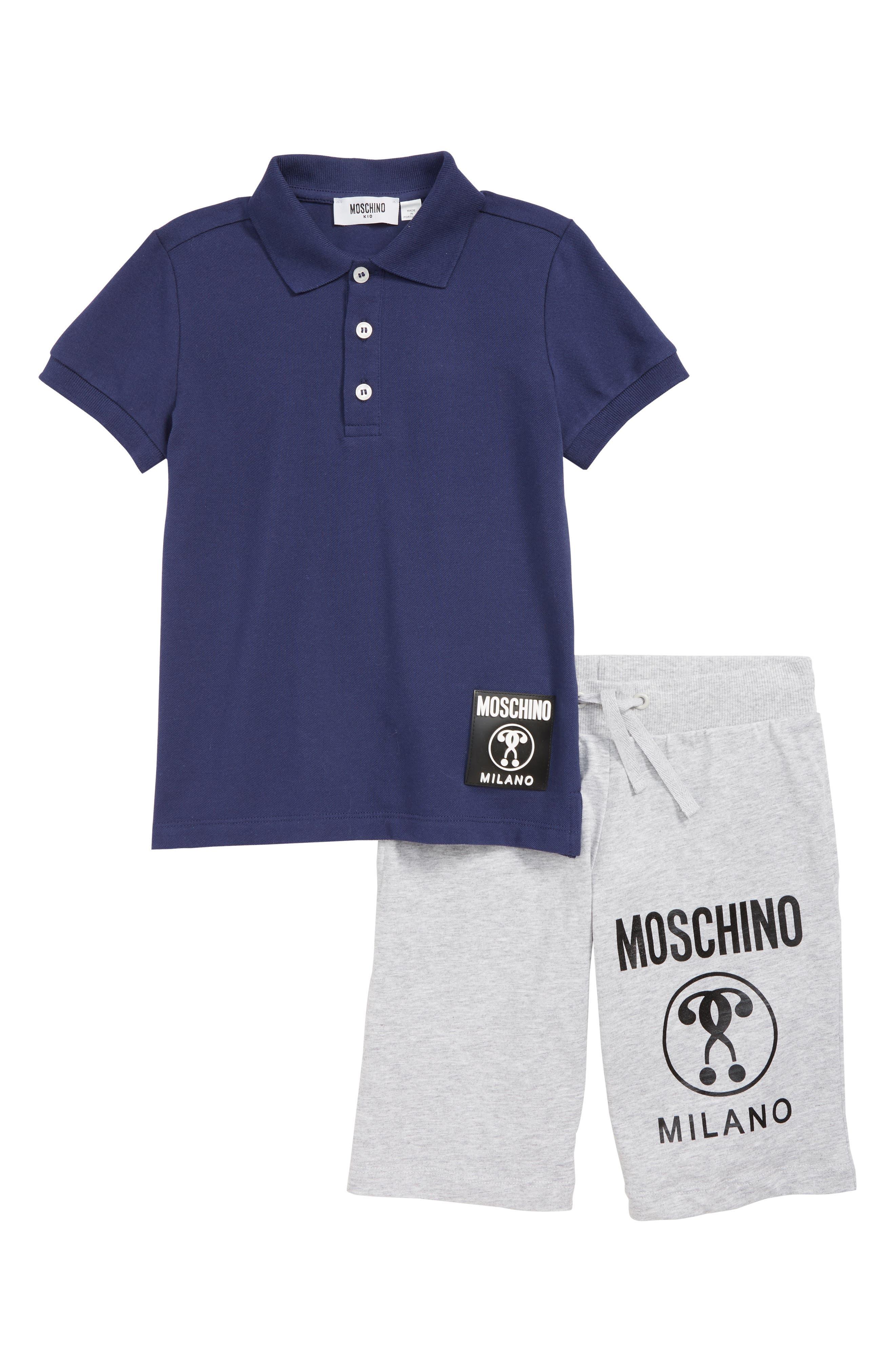 MOSCHINO, Polo & Shorts Set, Main thumbnail 1, color, BLUE/ GREY