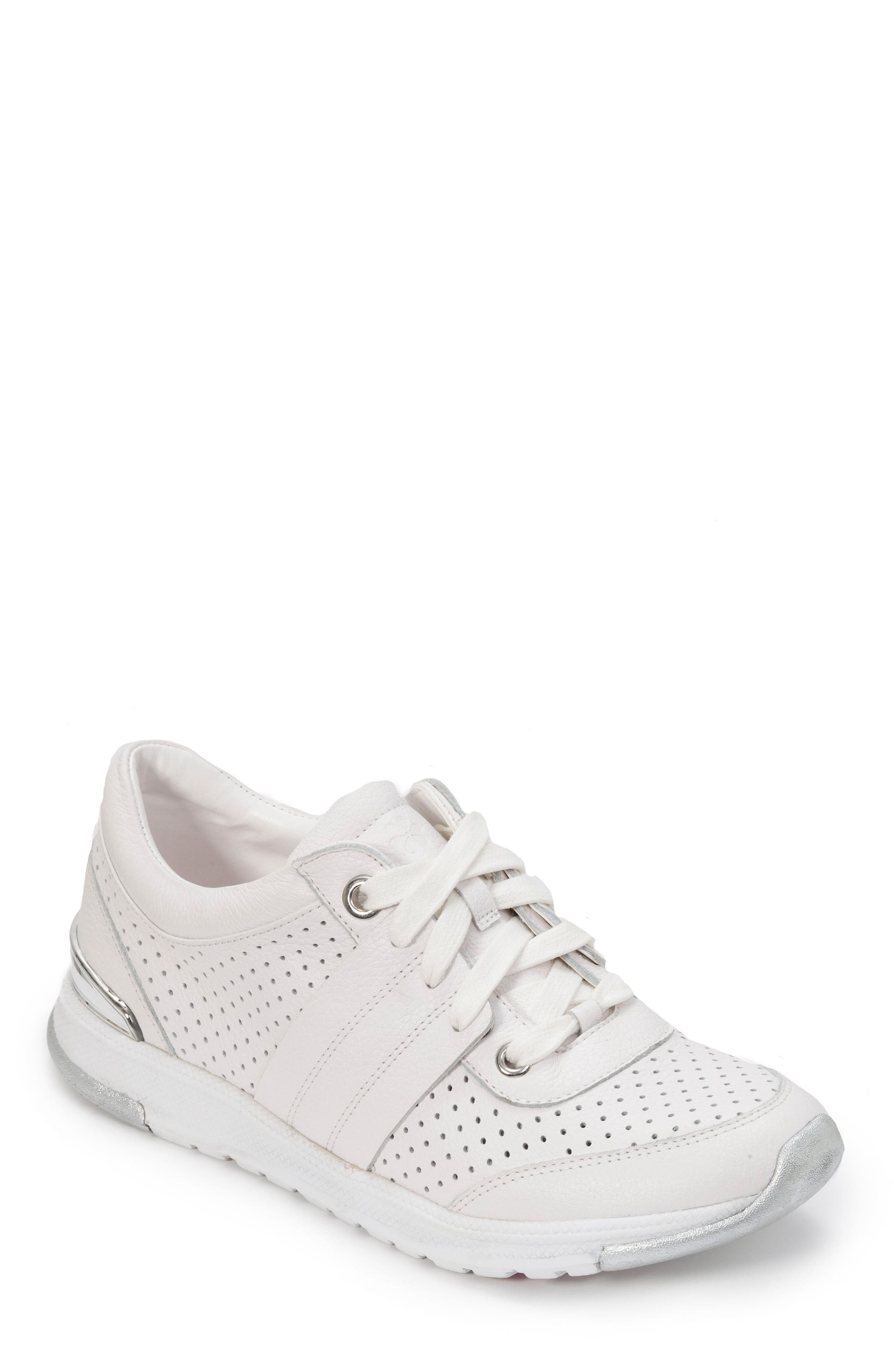 FOOT PETALS Bea Sneaker, Main, color, WHITE LEATHER