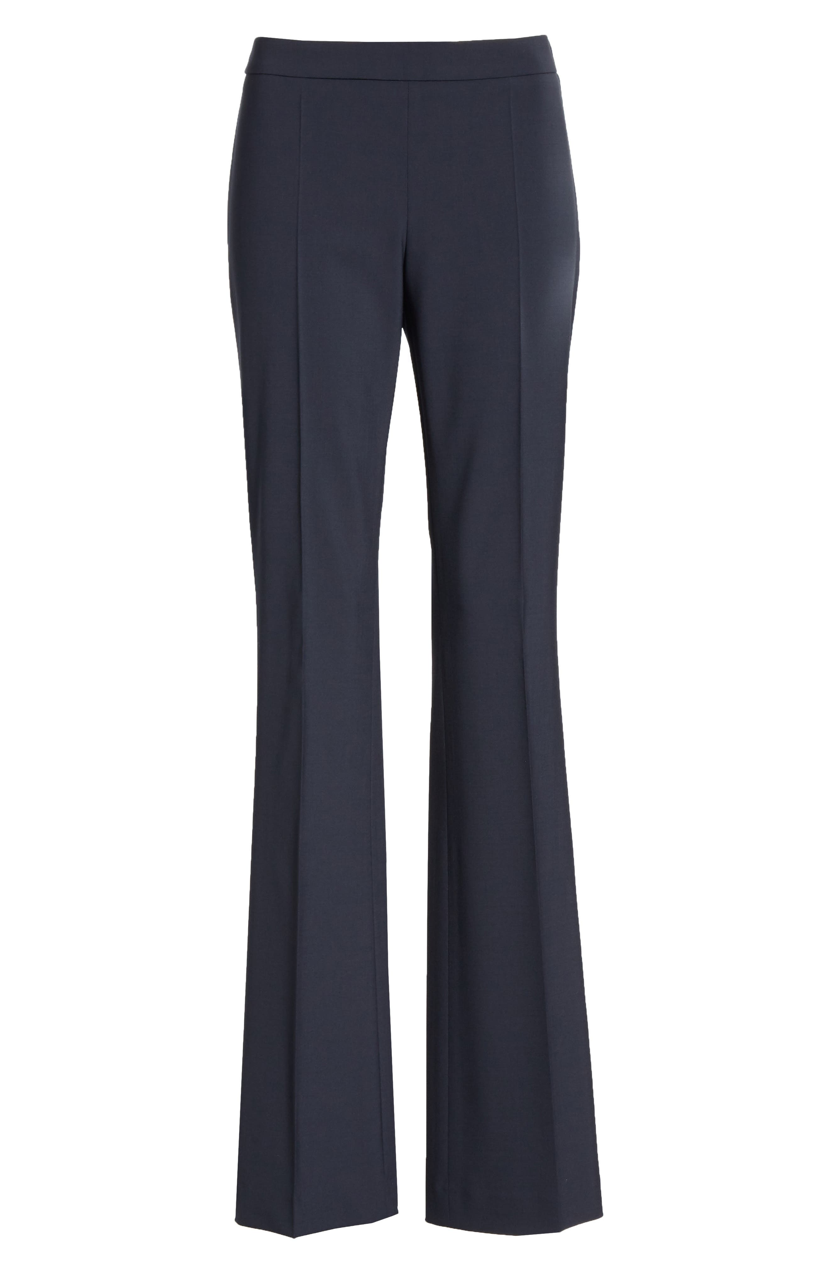BOSS, Tulea Side Zip Tropical Stretch Wool Trousers, Alternate thumbnail 7, color, NAVY