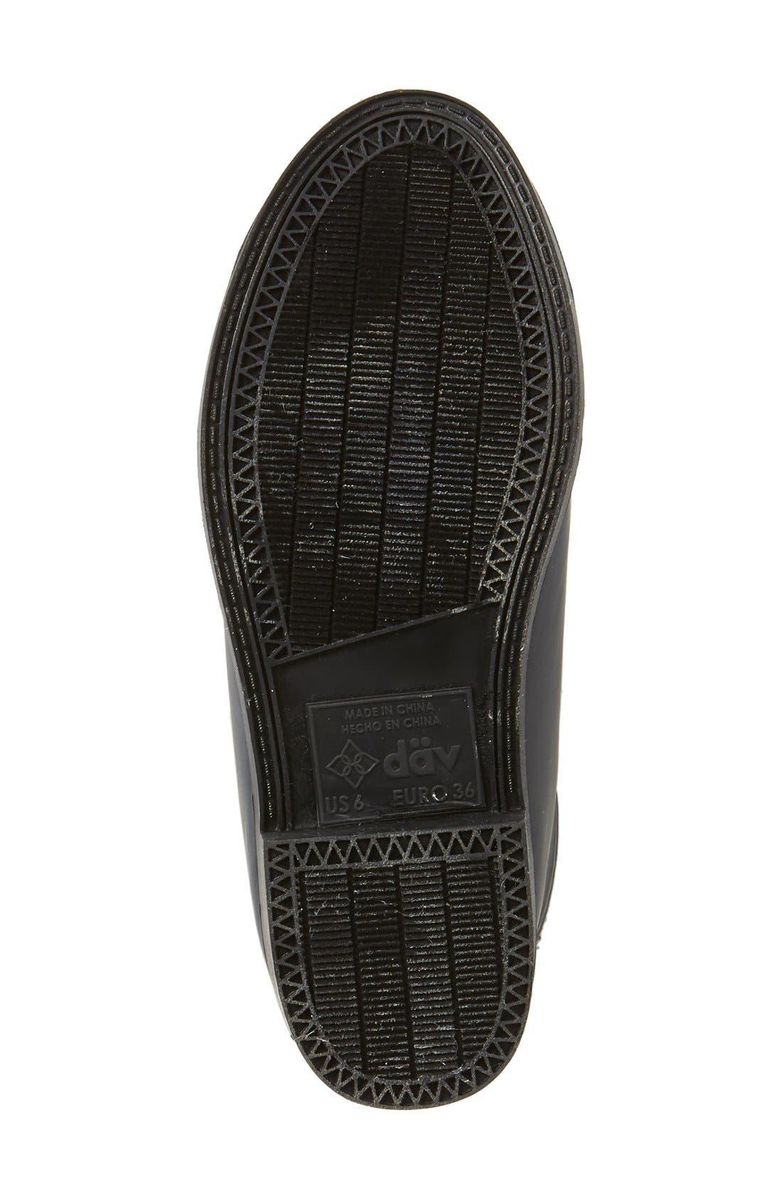 DÄV, Cardiff Tweed Knee High Waterproof Rain Boot, Alternate thumbnail 2, color, BLACK