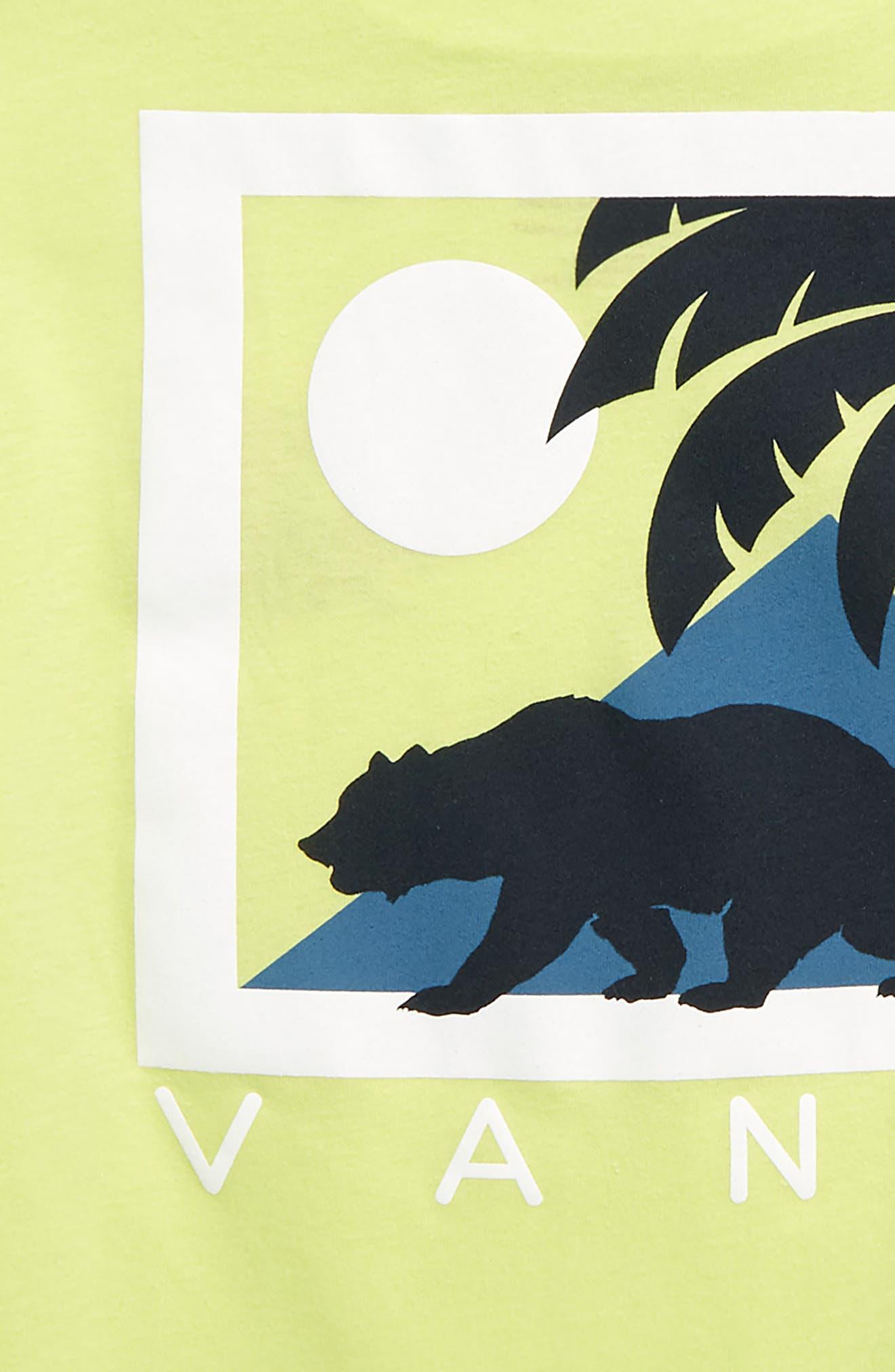 VANS, Cali Winter Graphic T-Shirt, Alternate thumbnail 3, color, SUNNY LIME