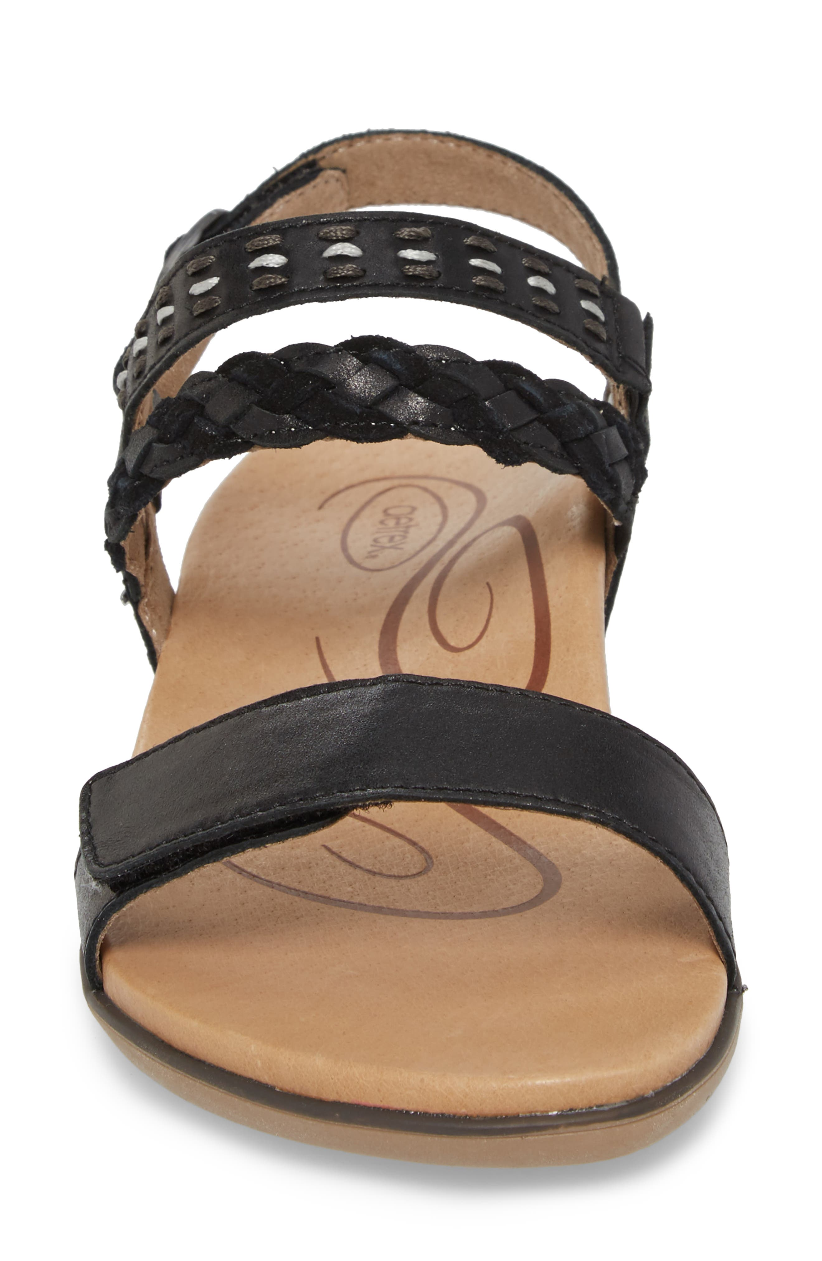 AETREX, Celeste Sandal, Alternate thumbnail 4, color, BLACK LEATHER