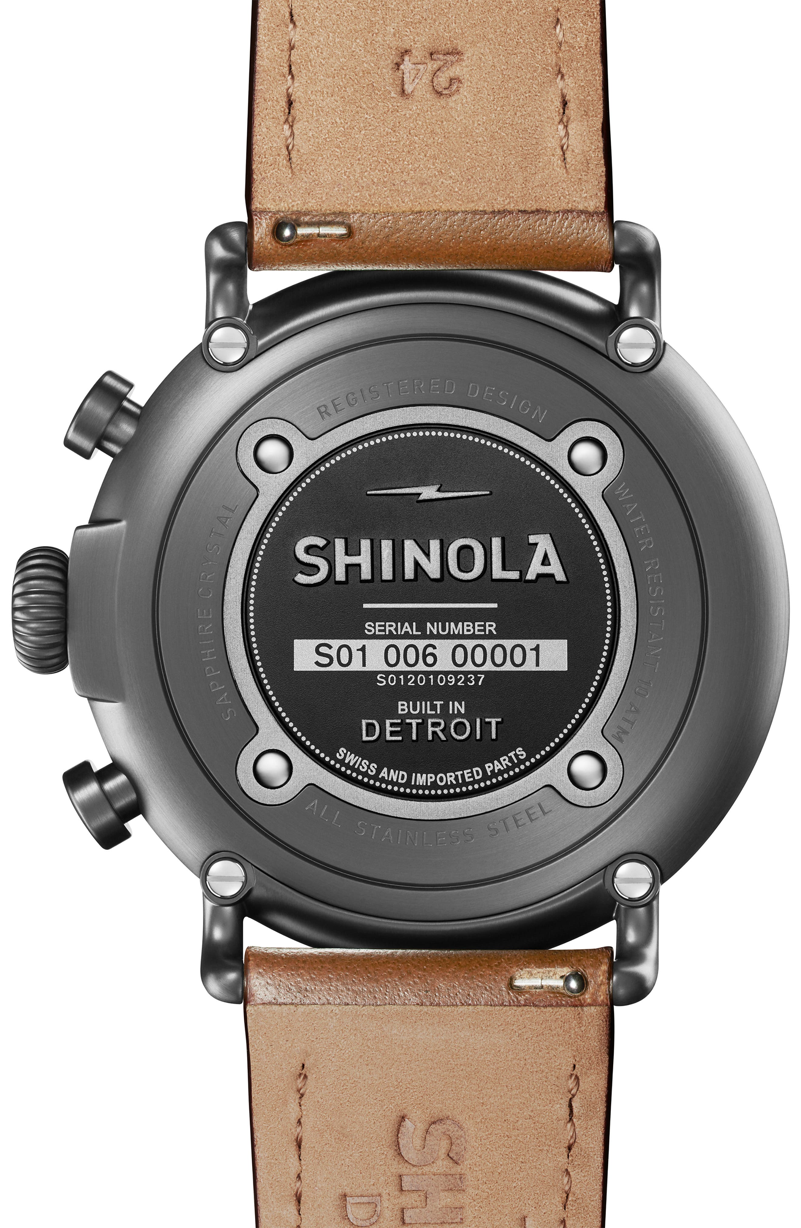 SHINOLA, The Runwell Chrono Leather Strap Watch, 47mm, Alternate thumbnail 2, color, TAN/ SPRUCE/ GUNMETAL