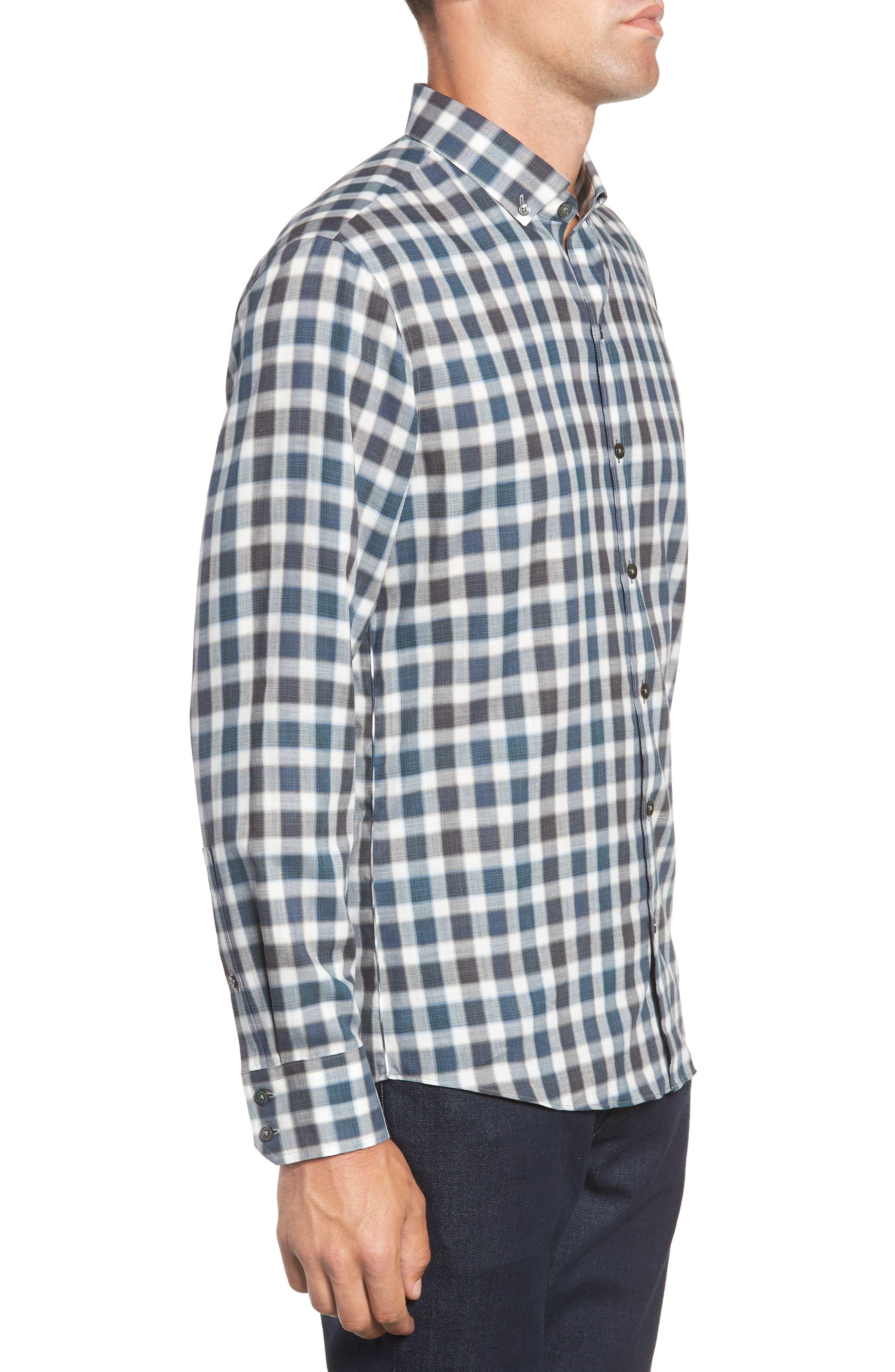 ZACHARY PRELL, Buffa Regular Fit Plaid Flannel Sport Shirt, Alternate thumbnail 4, color, DARK TEAL