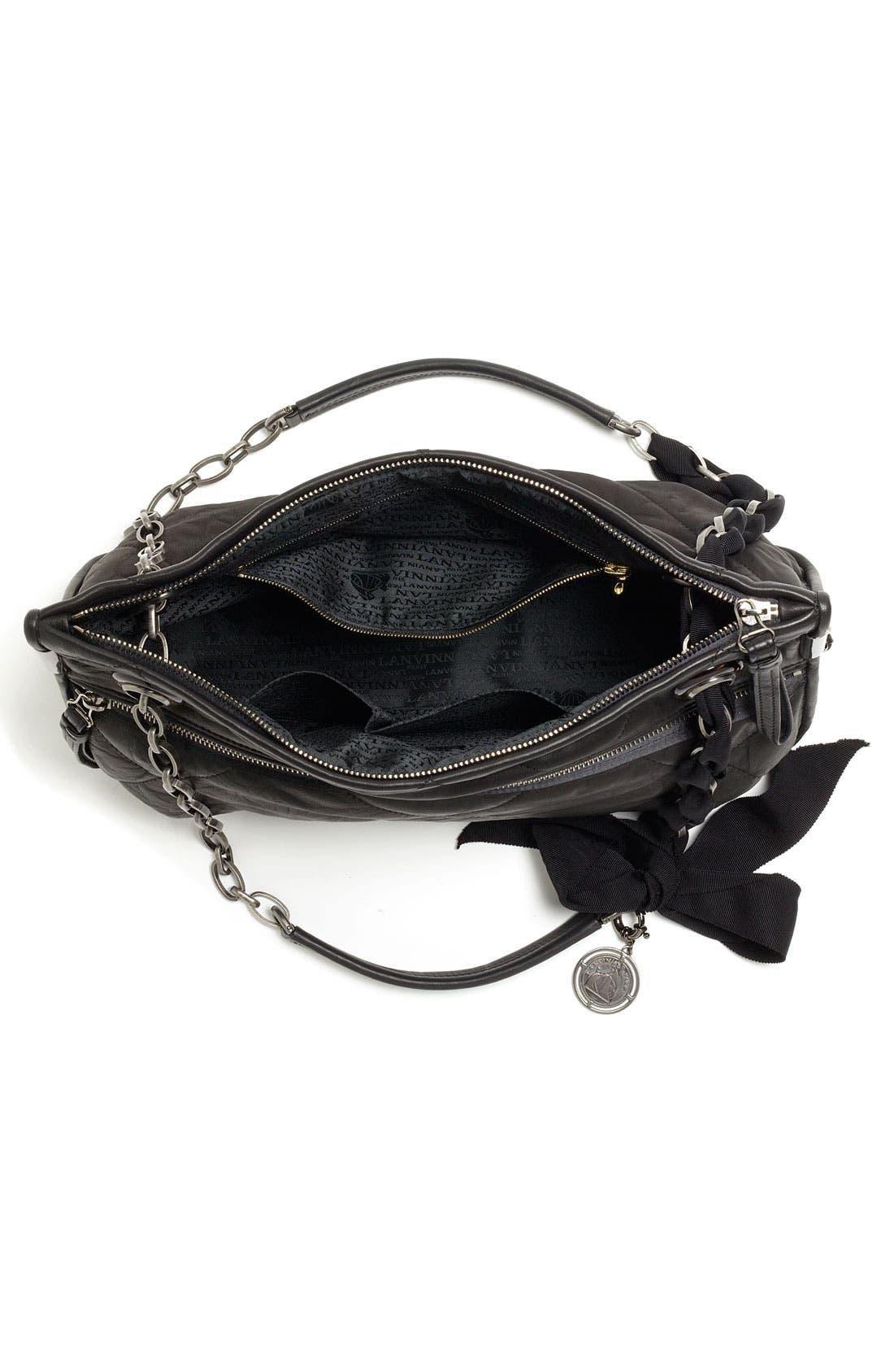 LANVIN, 'Amalia - Medium' Leather Shoulder Bag, Alternate thumbnail 3, color, 001