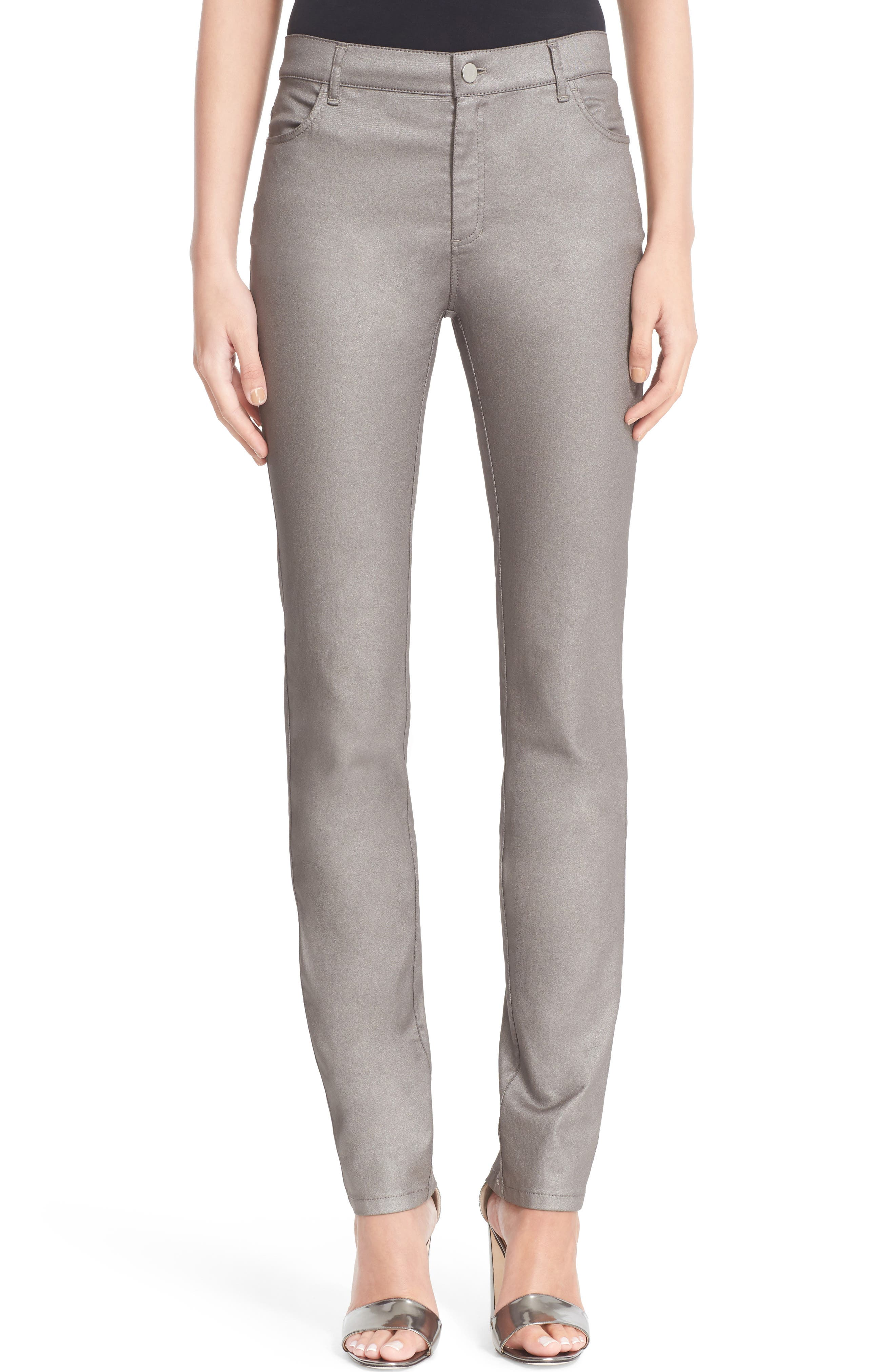 LAFAYETTE 148 NEW YORK Curvy Fit Skinny Jeans, Main, color, SILVER