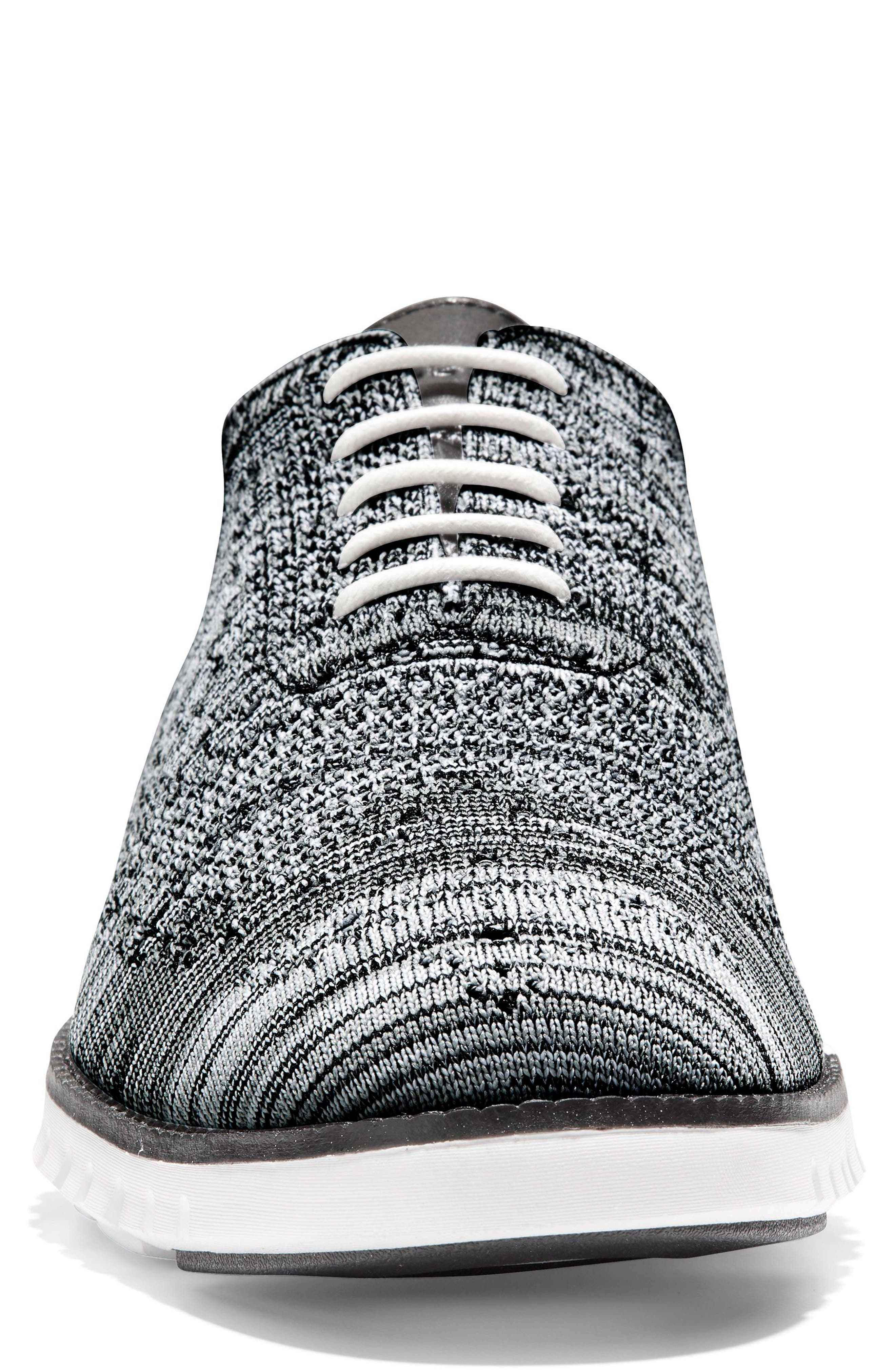 COLE HAAN, ZeroGrand Stitchlite Oxford, Alternate thumbnail 4, color, BLACK/ OPTIC WHITE/ SLEET KNIT
