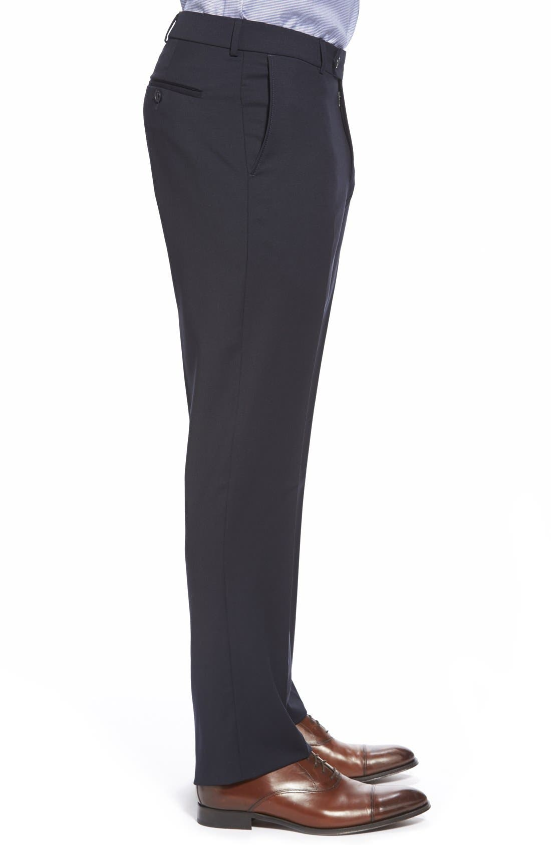 BALLIN, Flat Front Solid Wool Trousers, Alternate thumbnail 5, color, NAVY